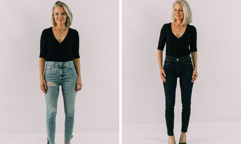 how to instantly look slimmer skinnier with dark wash blue jeans instead of light wash boyfriend jeans