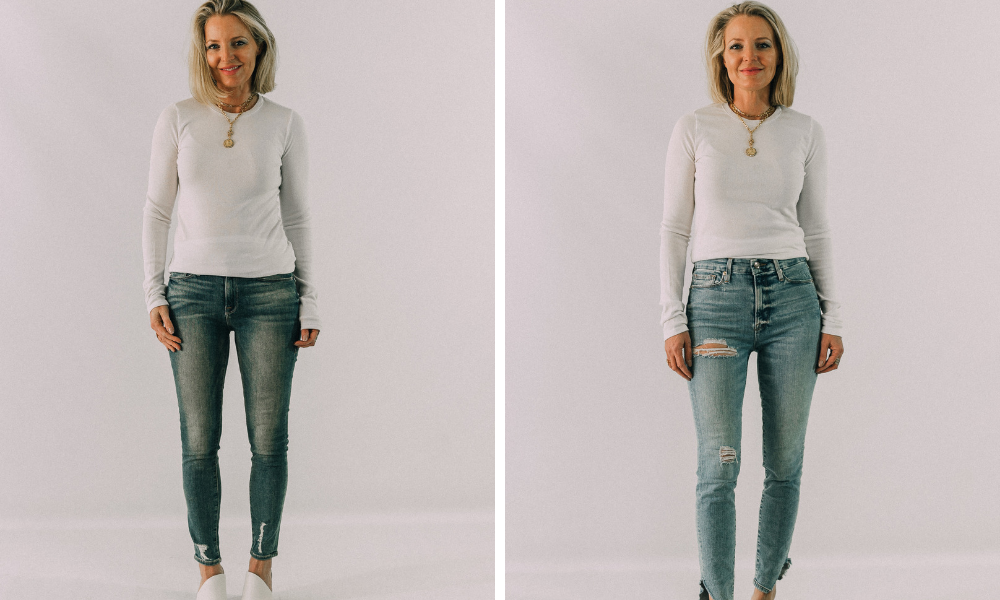 how to instantly look slimmer and skinnier by wearing high rise jeans instead of low rise jeans