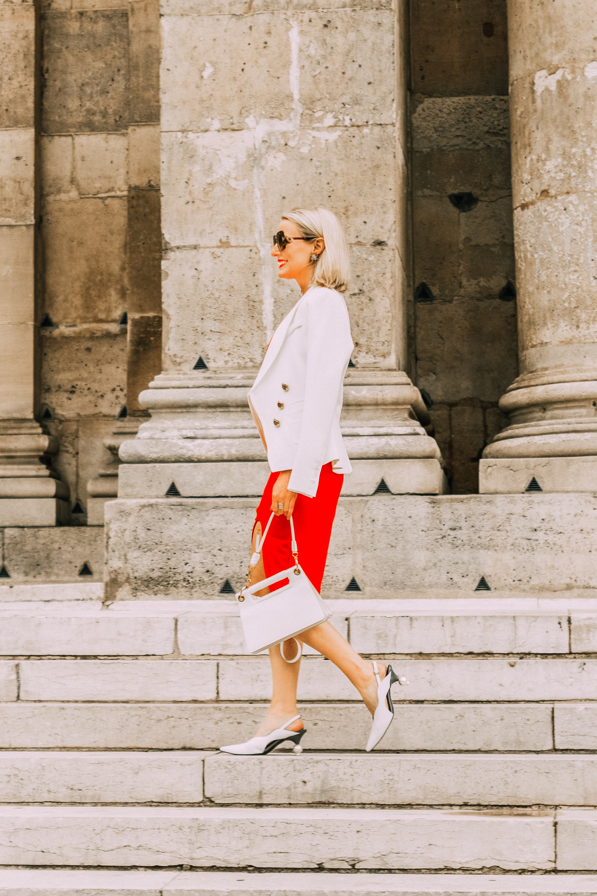 Date Night Dress, Fashion blogger over 40 Erin Busbee of BusbeeStyle.com wearing a red Bailey 44 dress with a white blazer, white Givenchy small whip bag, and white Smythe blazer in Paris, France