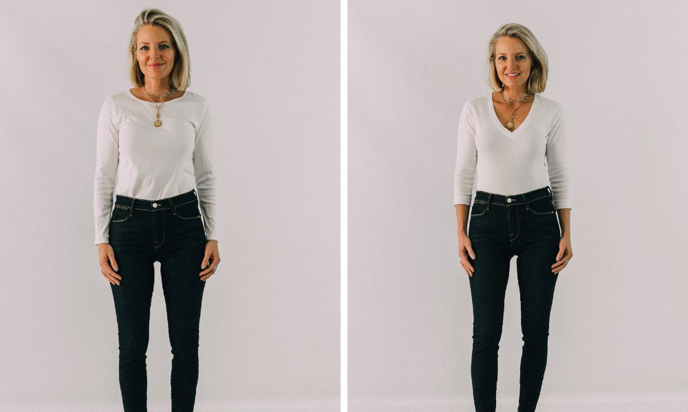 fashion blogger showing style trick for how to look skinnier by wearing v-neck shirt instead of crewneck t shirt