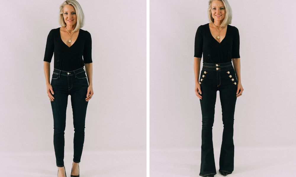 how to instantly make your legs look slimmer and skinnier by wearing flare blue jeans instead of skinny jeans
