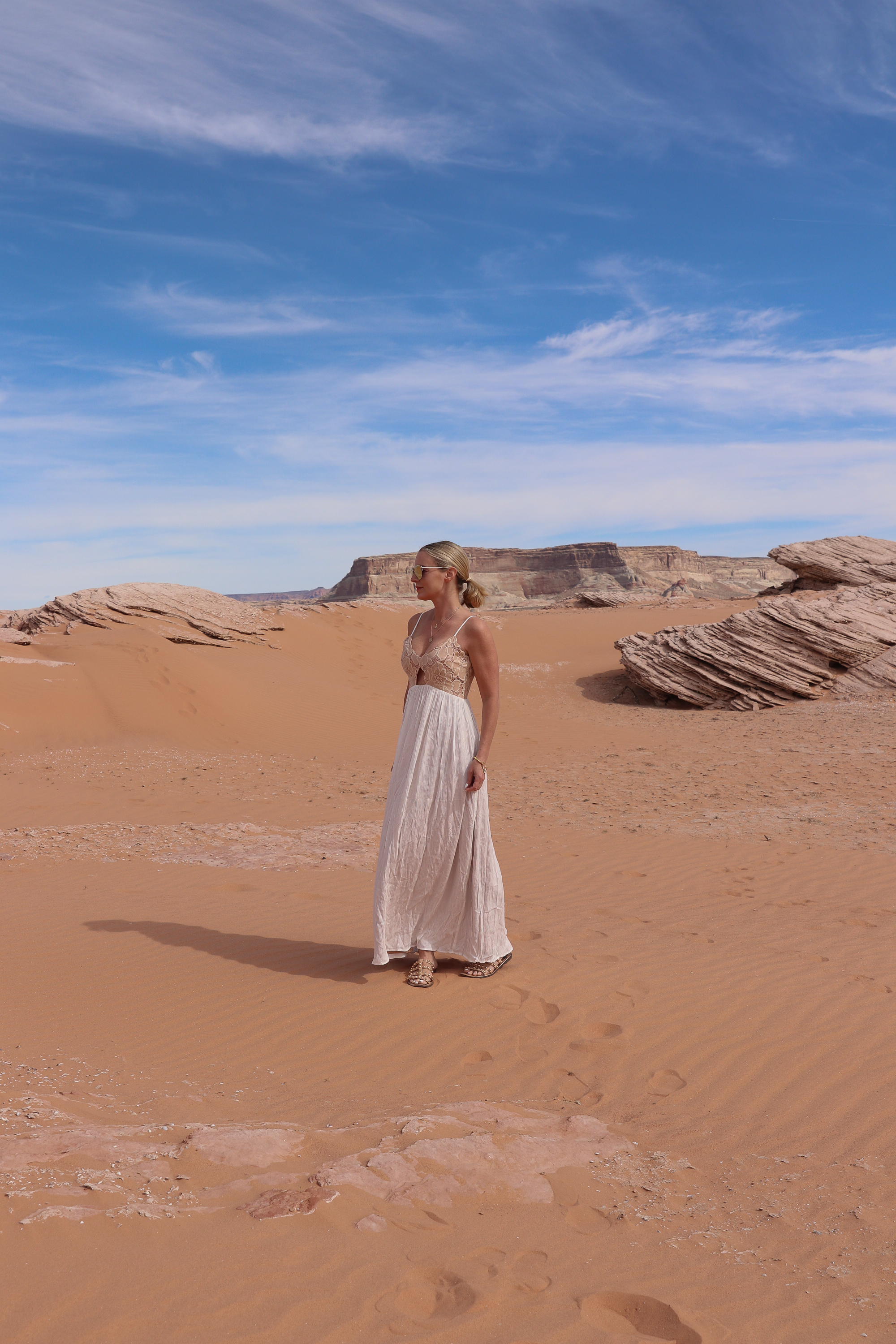 Maxi Dresses, Fashion blogger busbee style wearing lace cotton maxi dress by Tularosa with Sam Edelman sandals at Lake Powell