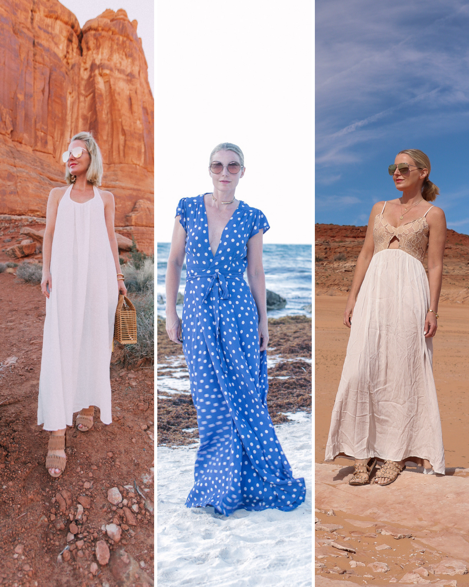 Fashion blogger busbee style wearing maxi dresses by 9seed and Tularosa