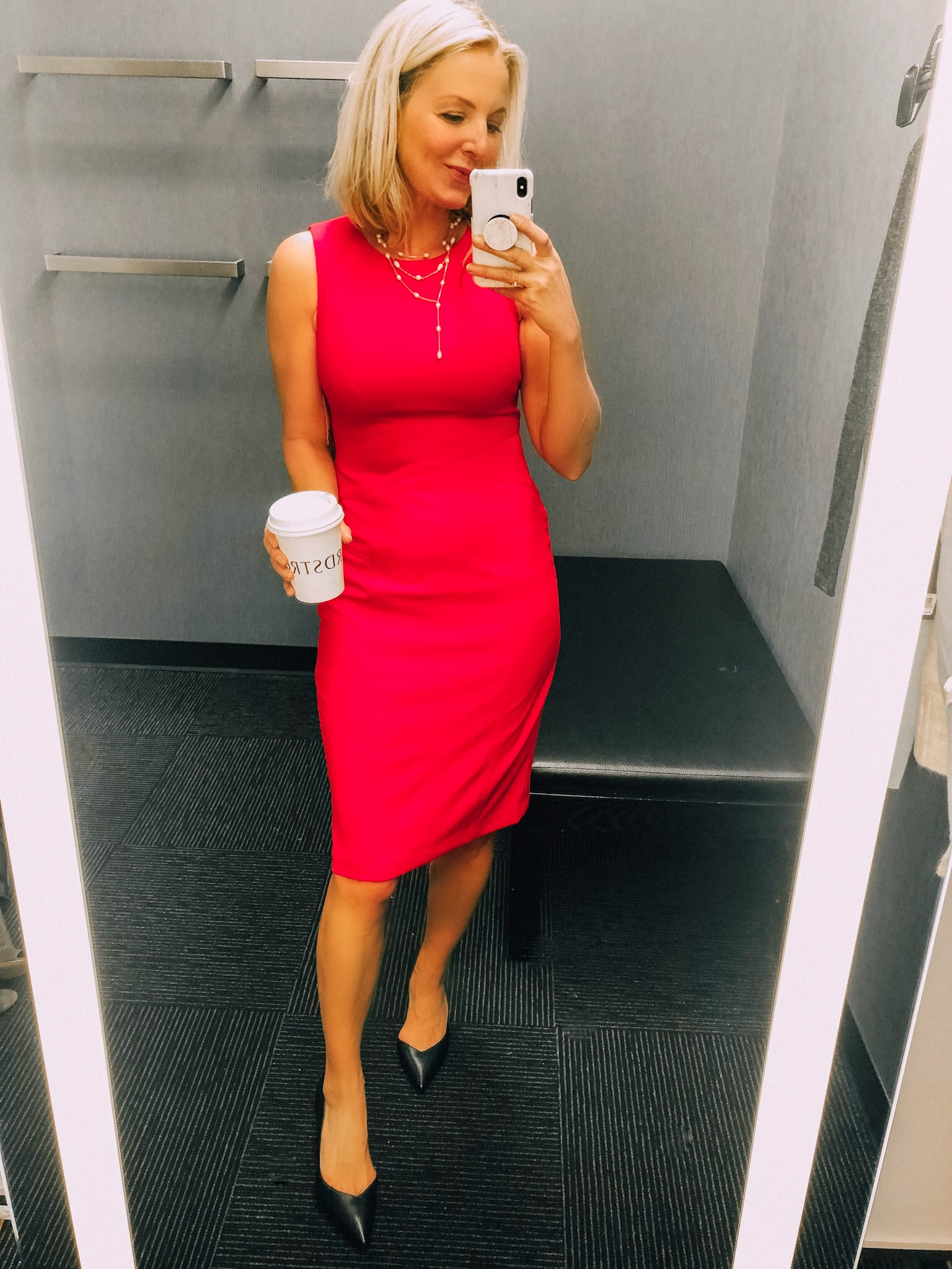 Red dress by Vince Camuto from Nordstrom Anniversary Sale 2019