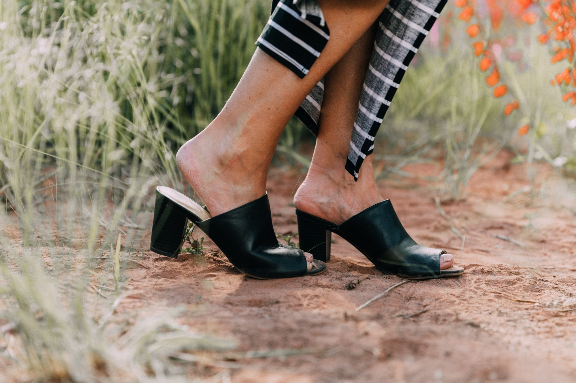 Ways To Wear Stripes, Fashion blogger Erin Busbee featuring black peep toe mules from JCPenney