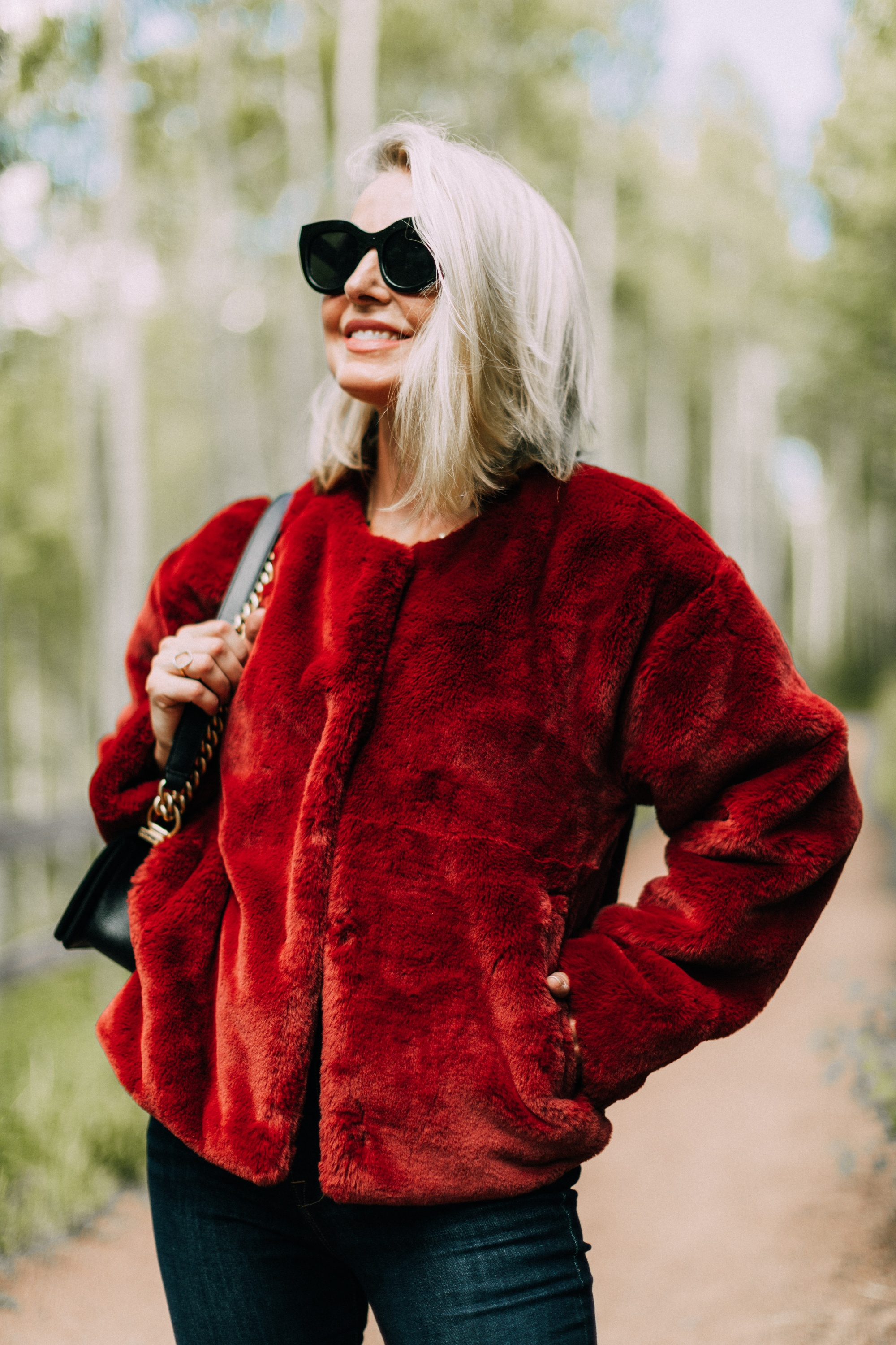 nordstrom anniversary sale 2019 best jackets including this faux fur jacket by Sanctuary on fashion blogger Erin Busbee in Telluride Colorado