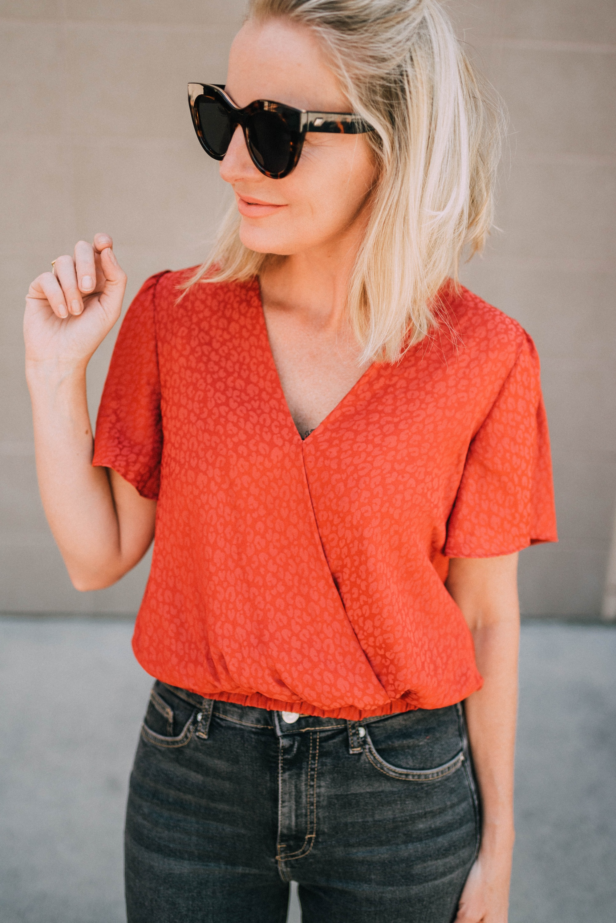Red, Fashion blogger Erin Busbee of BusbeeStyle.com wearing a red ASTR The Label jacquard top from The Nordstrom Anniversary Sale 2019