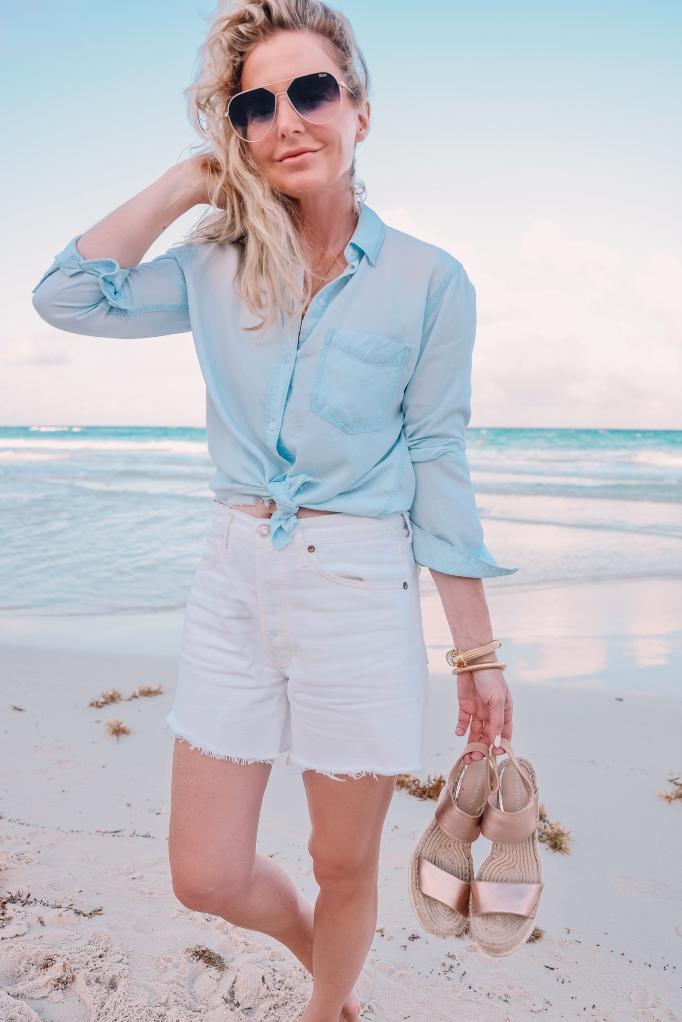 button down shirts, rails button down, chambray shirt, rails chambray shirt, white agolde jean shorts, white agolde denim shorts, denim shorts over 40, how to wear a button down, button down shirts for summer, best button down shirts, blouses that cover arms