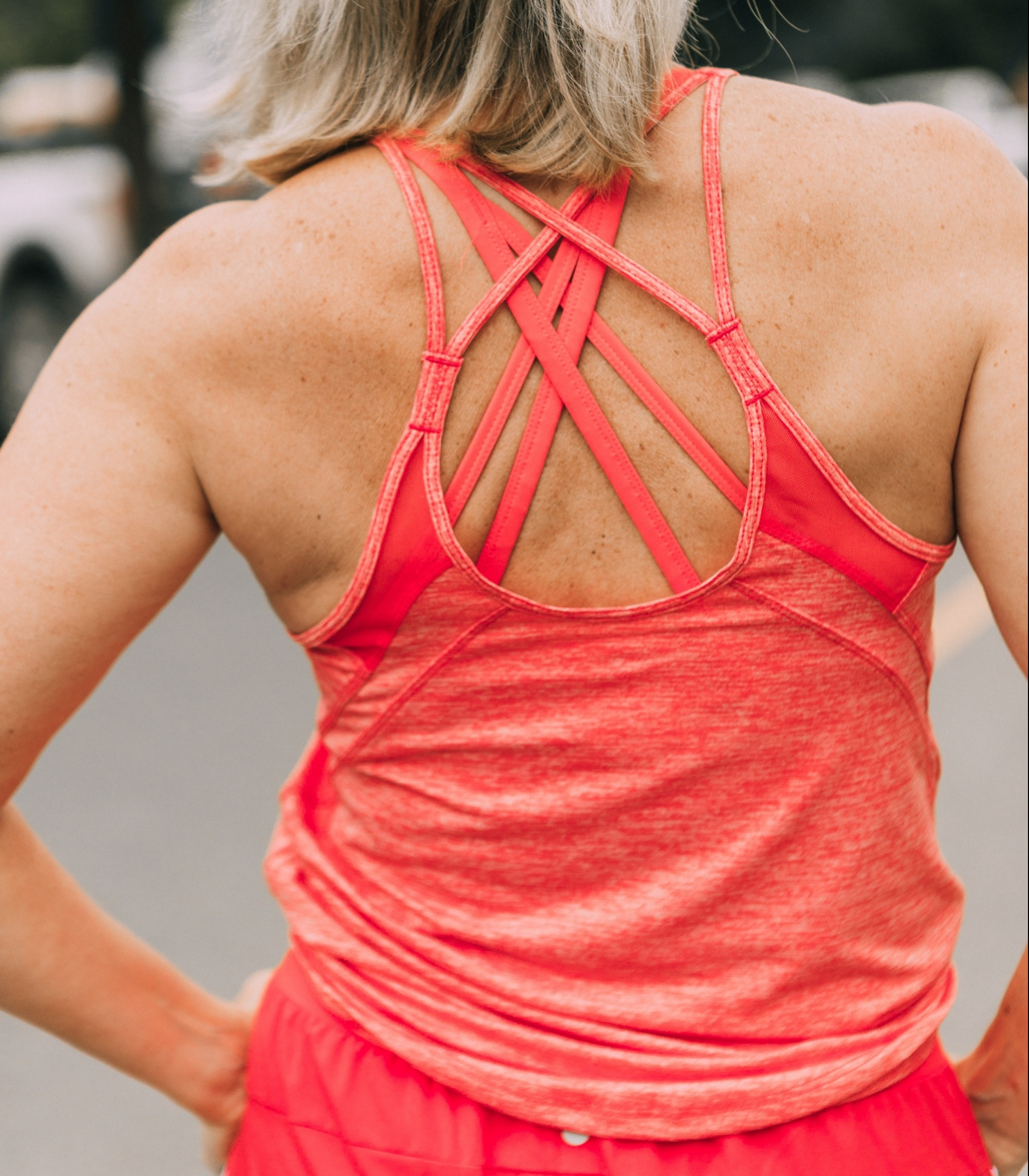 Affordable Activewear From Walmart, Fashion blogger Erin Busbee of BusbeeStyle.com wearing pink racing stripe joggers, pink tank, and pink sports bra by Athletic Works from Walmart in Telluride, CO