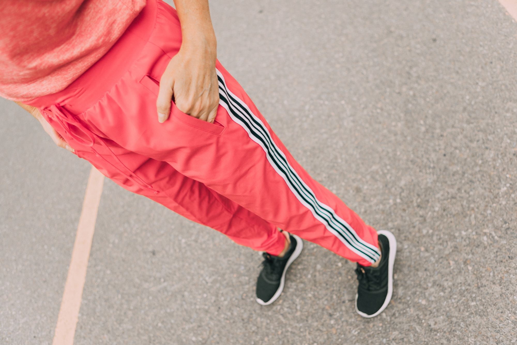 Affordable Activewear From Walmart, Fashion blogger Erin Busbee of BusbeeStyle.com wearing pink racing stripe joggers by Athletic Works from Walmart in Telluride, CO