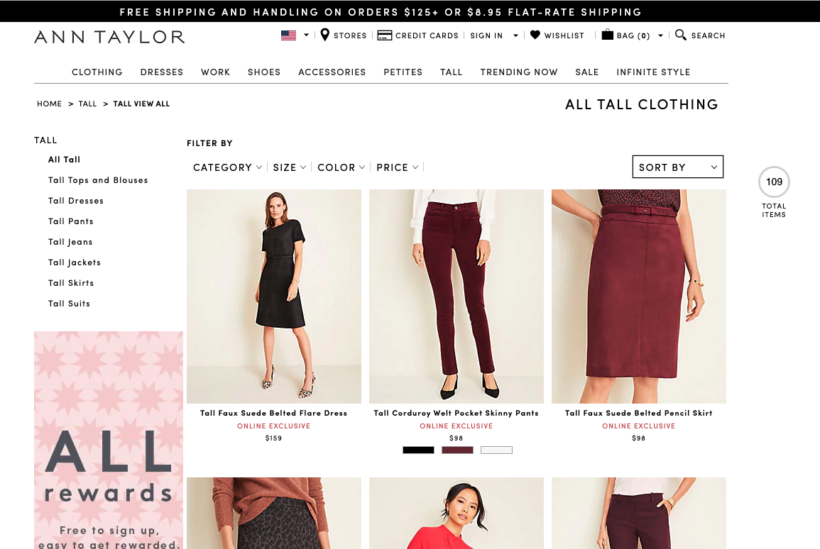 ann taylor clothing for tall women