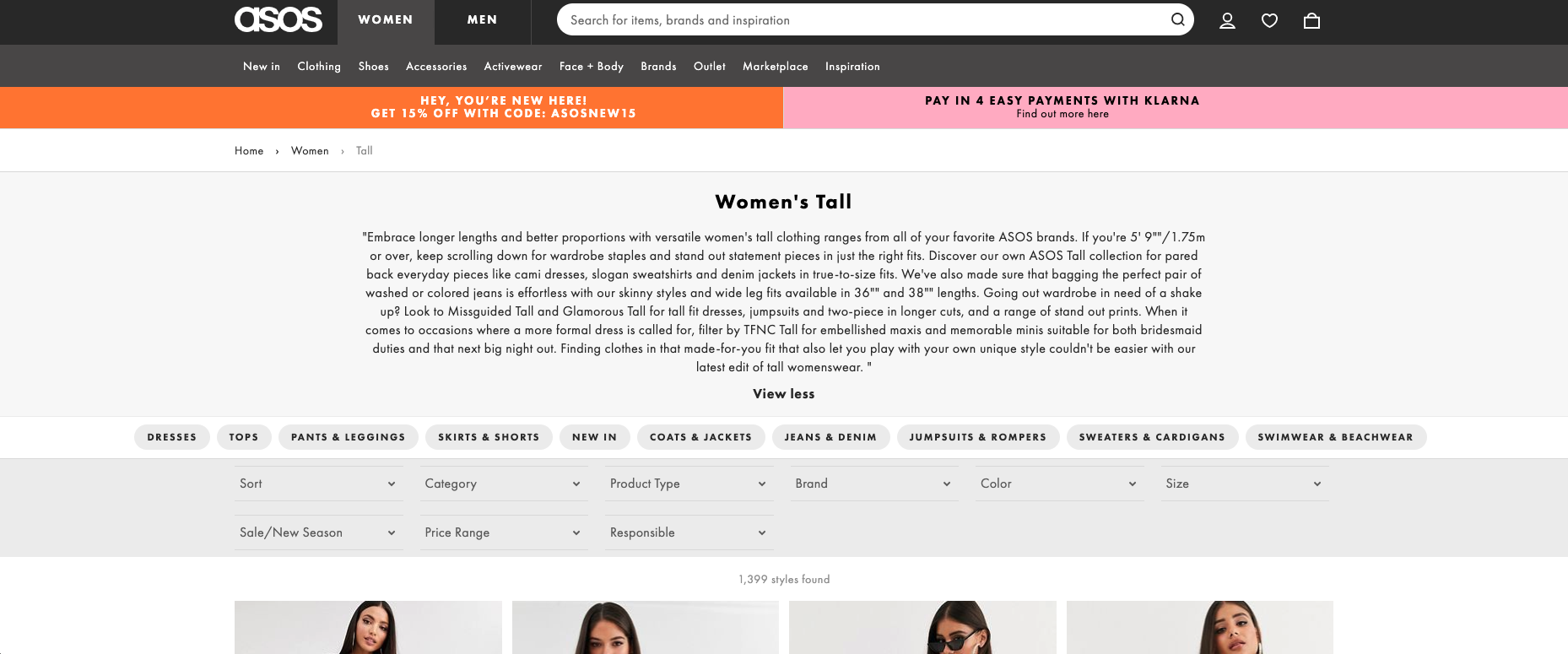 online clothing for tall women