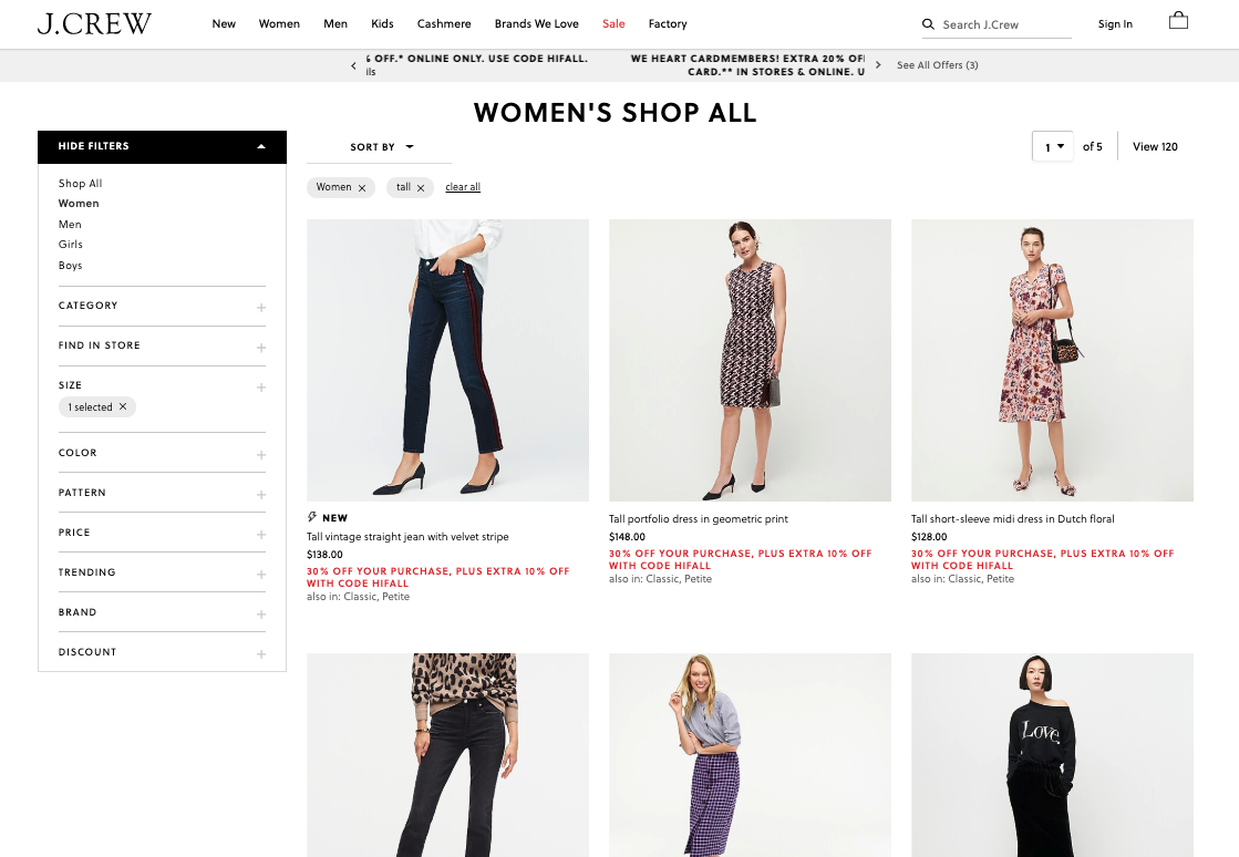 clothes for tall women from j crew