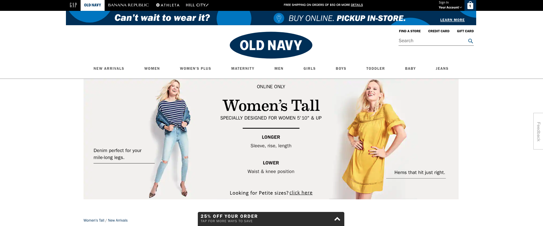 old navy clothing for tall women