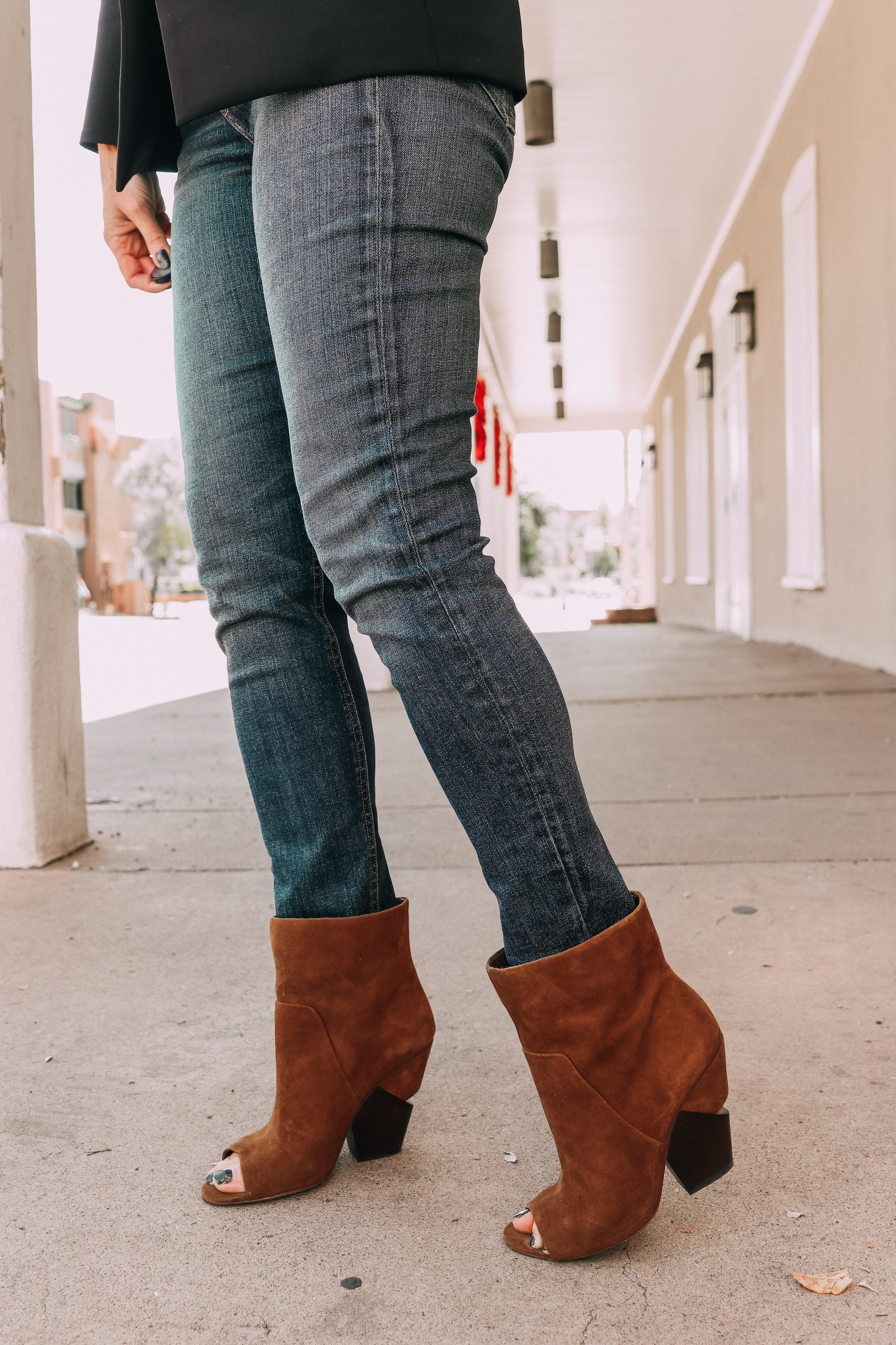 vince camuto kehrey notched heel open toe brown suede bootie fall outfit