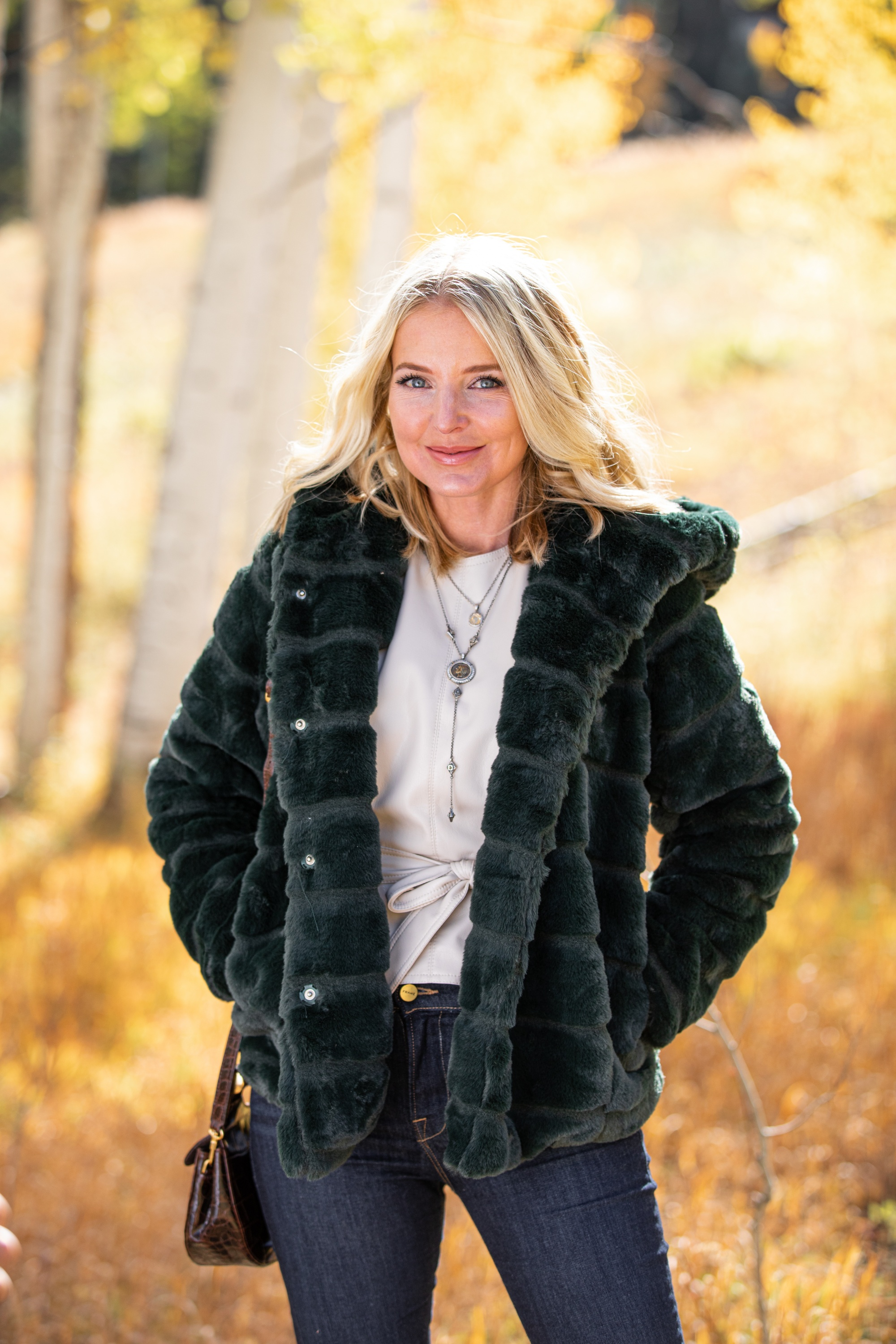 faux fur green apparis goldie hooded jacket fashion blogger outfit for fall and winter