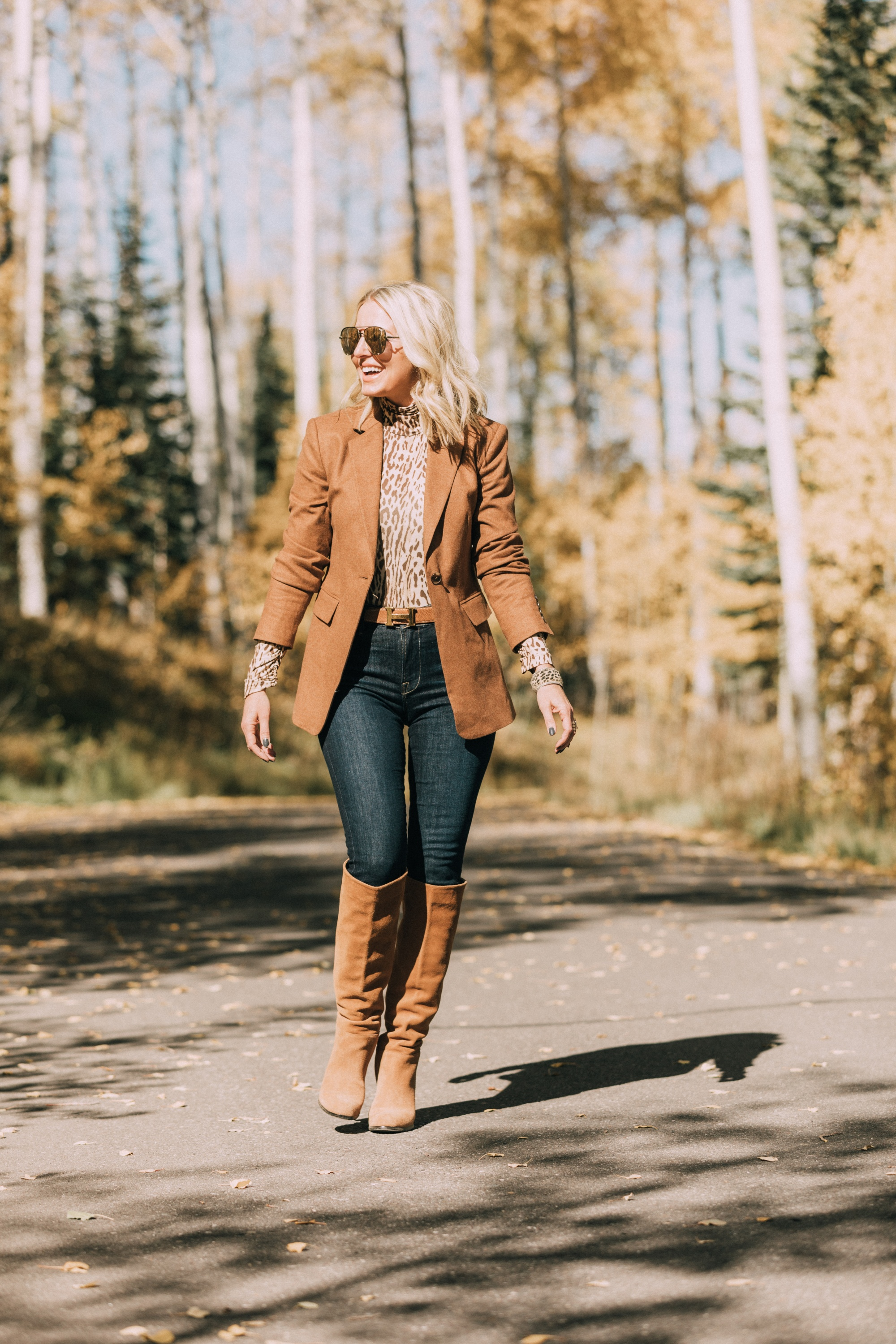 fashion blogger erin busbee wearing cute fall outfit with camel brown blazer over leopard print turtleneck rag & bone skinny jeans paired with sam edelman knee high suede boots, hermes belt