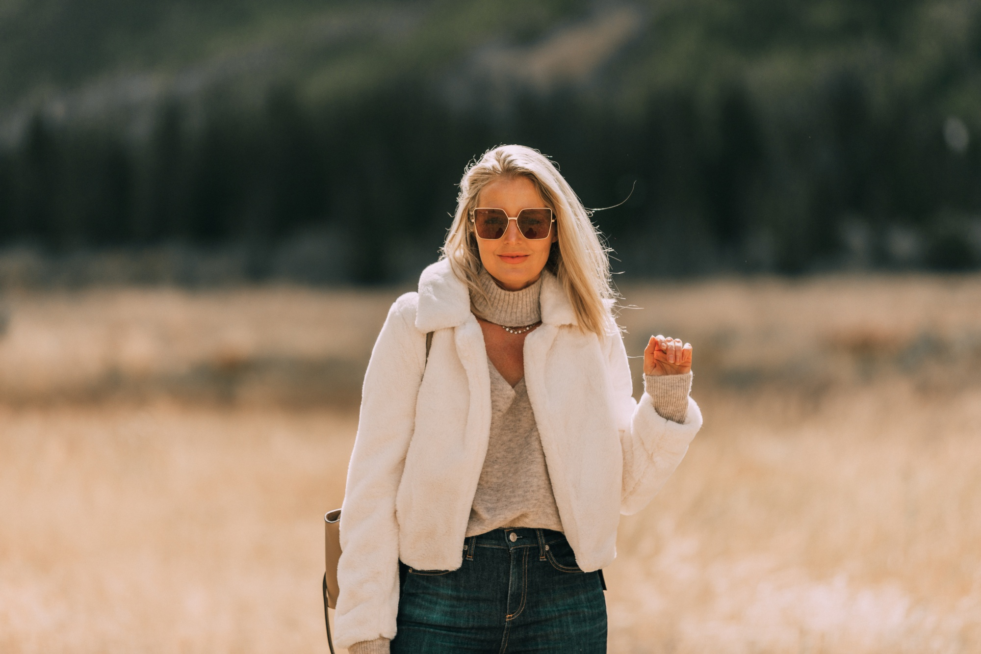 cozy faux fur jacket fashion blogger BLANKNYC white fur jacket outfit with choker cutout sweater