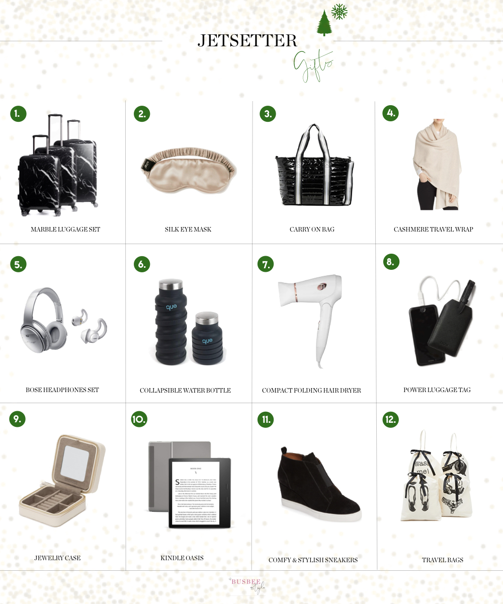 Gifts For The Jetsetter, Fashion blogger Erin Busbee of BusbeeStyle.com featuring 12 gifts for the travel lover in your life!