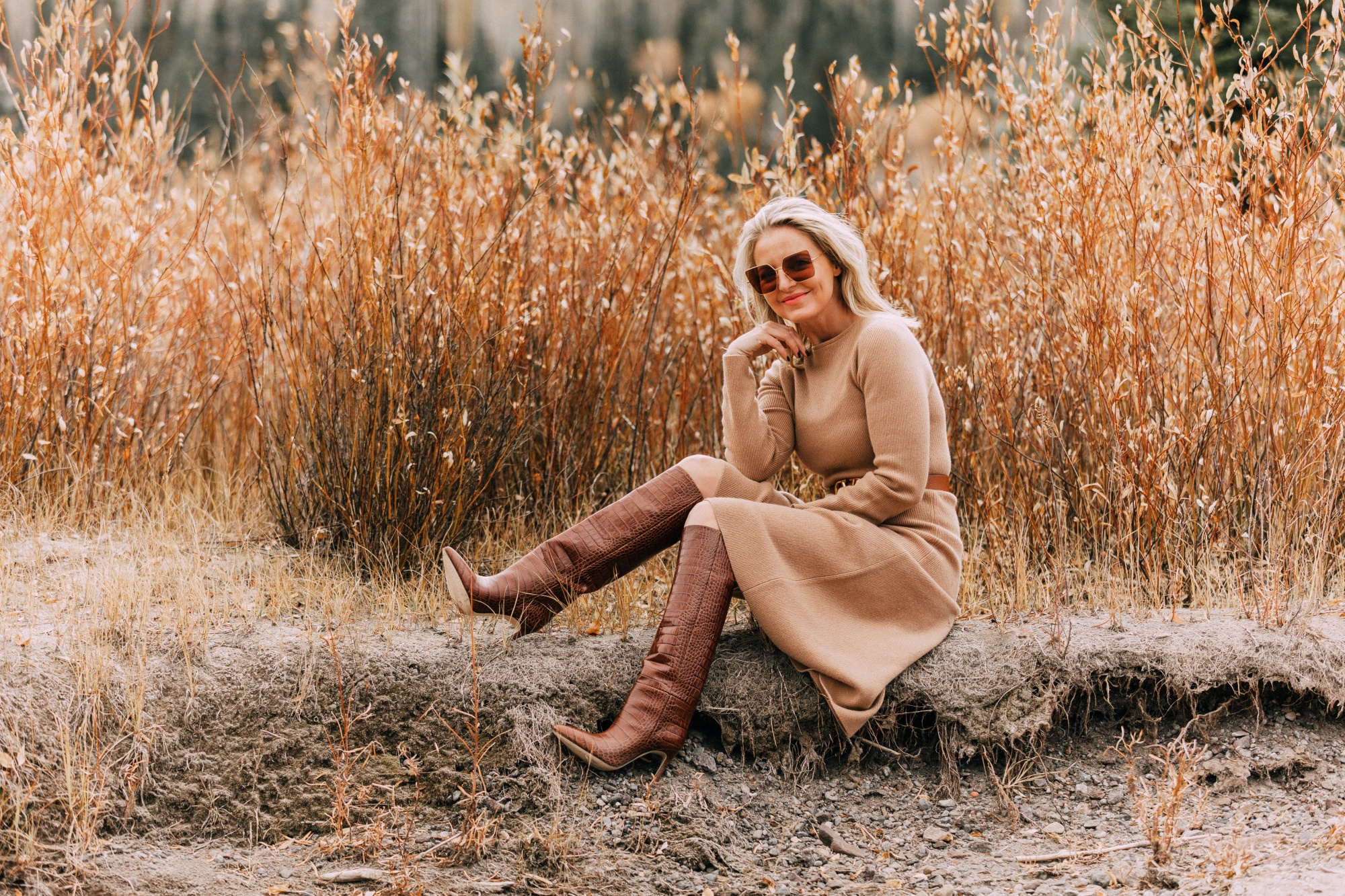 Killer Brown Boots, Fashion Blogger Erin Busbee of BusbeeStyle.com wearing a camel sweater dress by Nordstrom Signature with a Valentino waist belt and brown Paris Texas croc-embossed boots in Telluride, CO