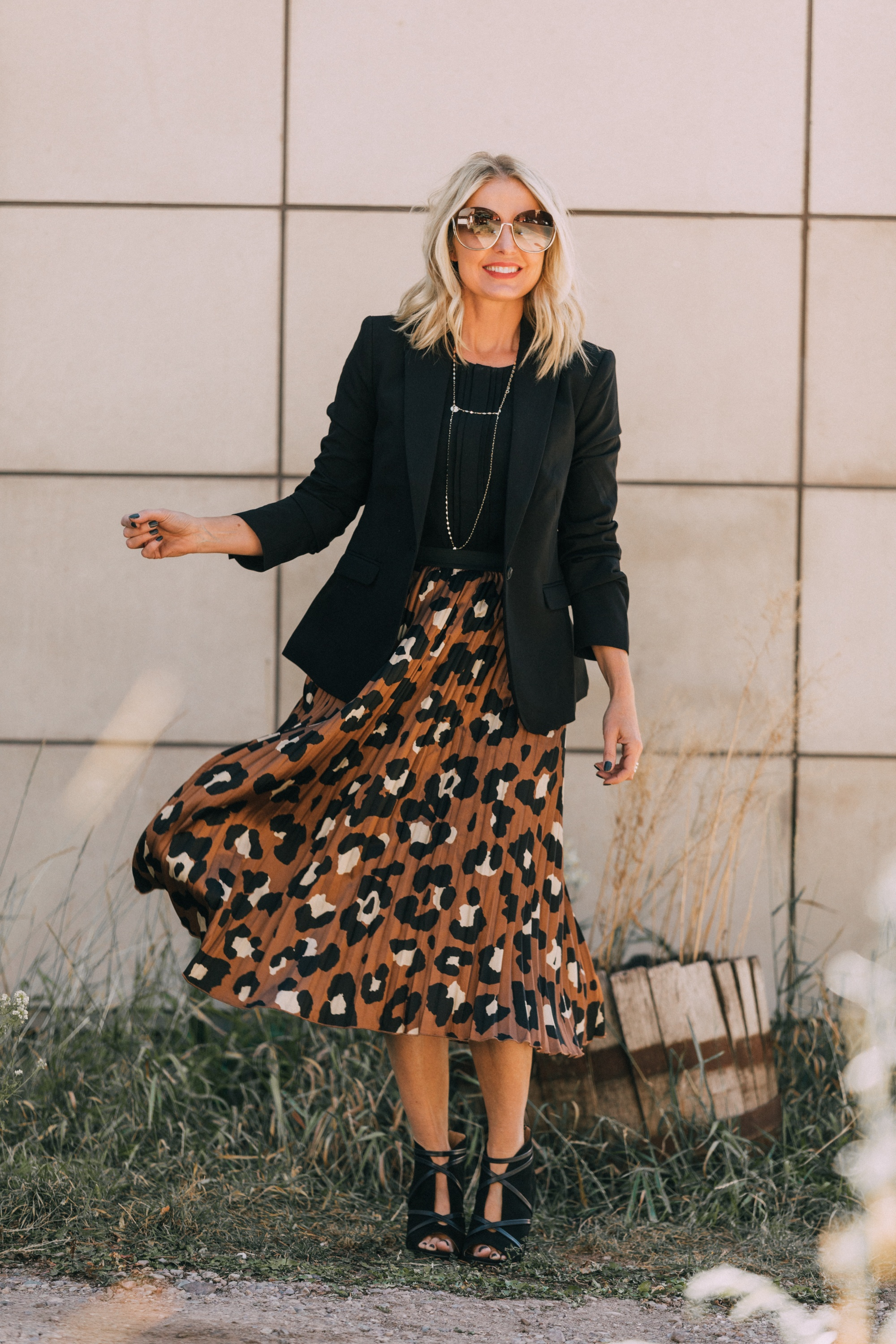 Affordable Blazers fashion blogger outfit with leopard print midi skirt workwear