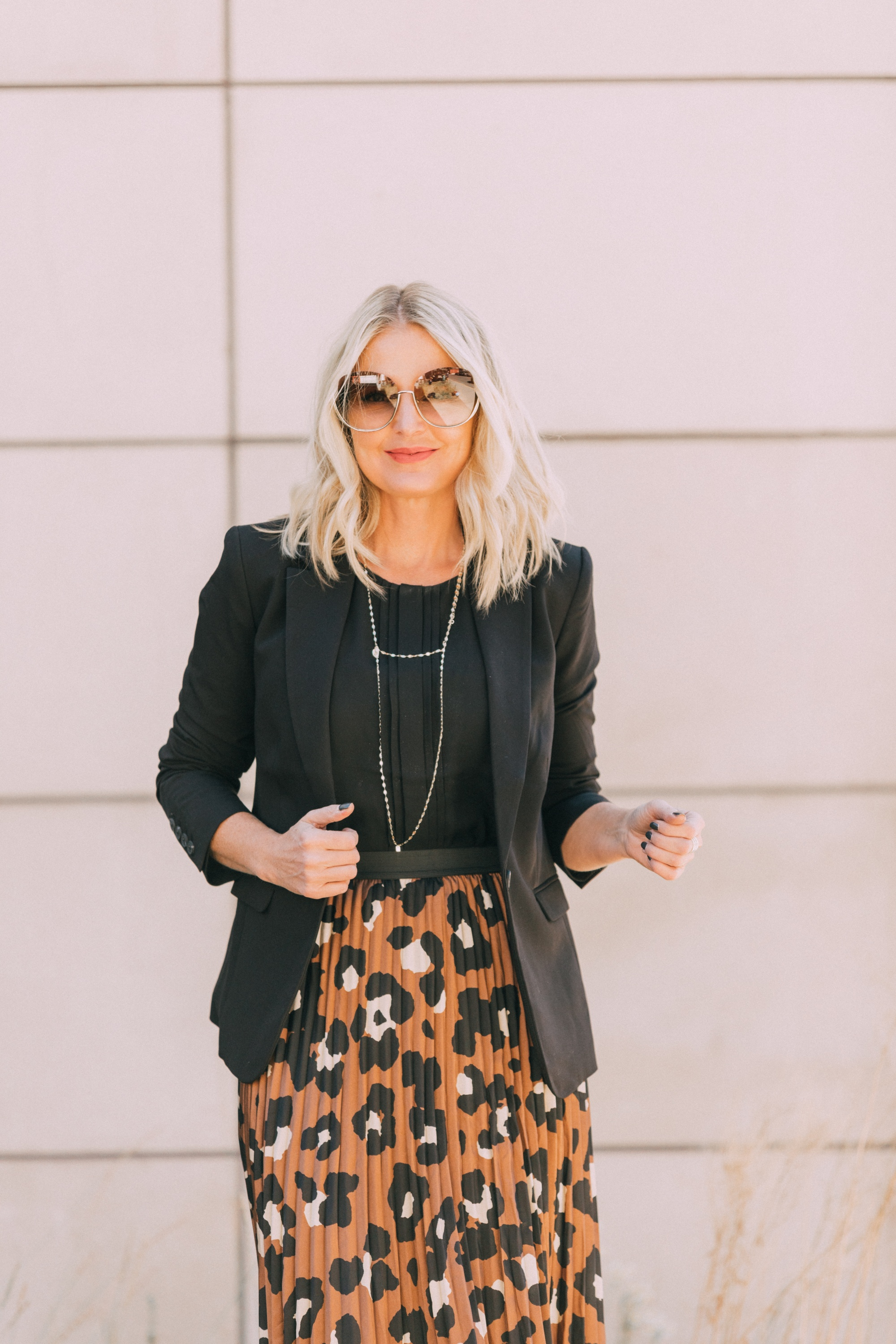 Affordable Blazers fashion blogger outfit with pleated leopard print midi skirt workwear