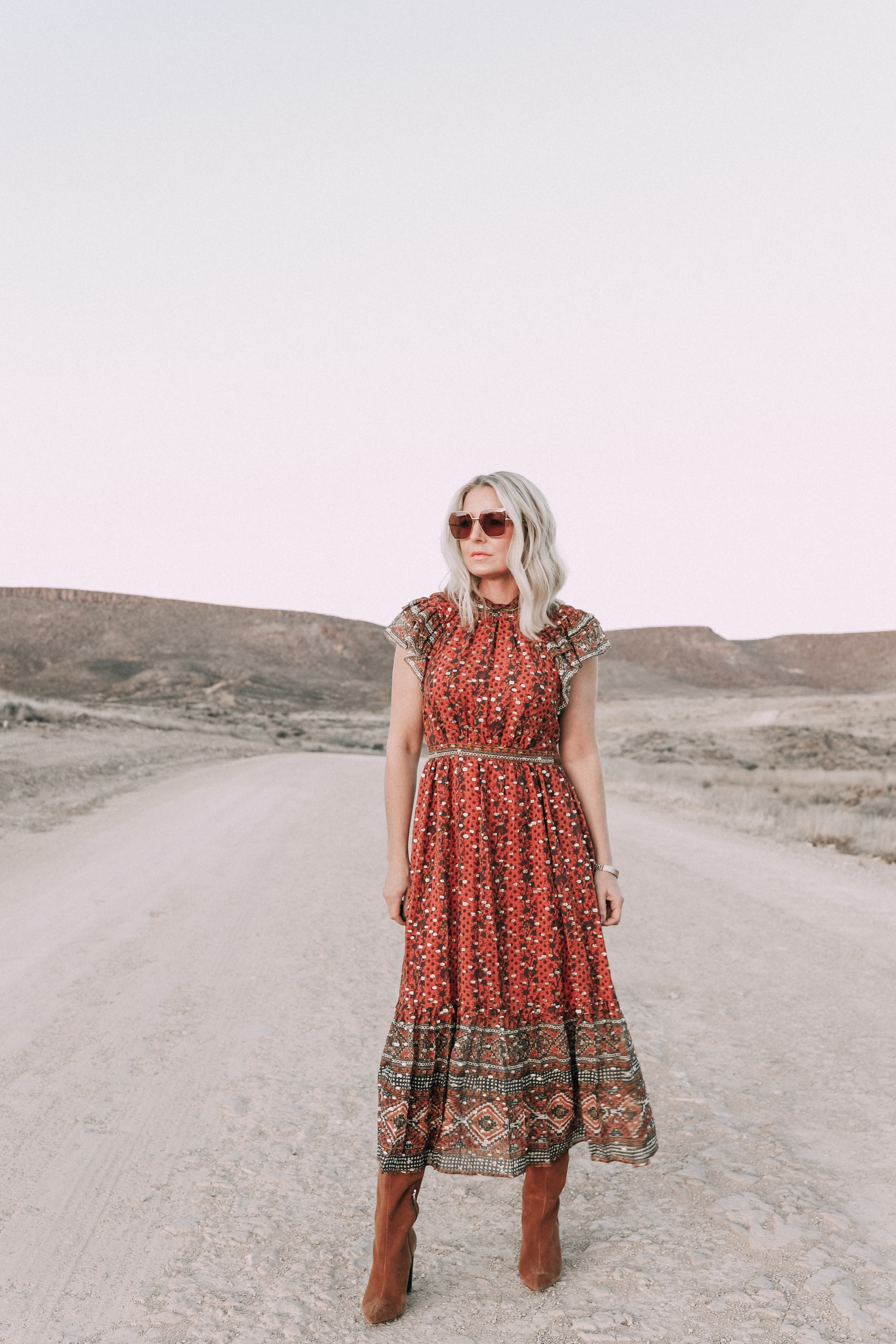 Ulla Johnson Dress, Fashion Blogger Erin Busbee of BusbeeStyle.com wearing the Ulla Johnson Alistair Dress with brown suede boots at Cibolo Creek Ranch in Texas