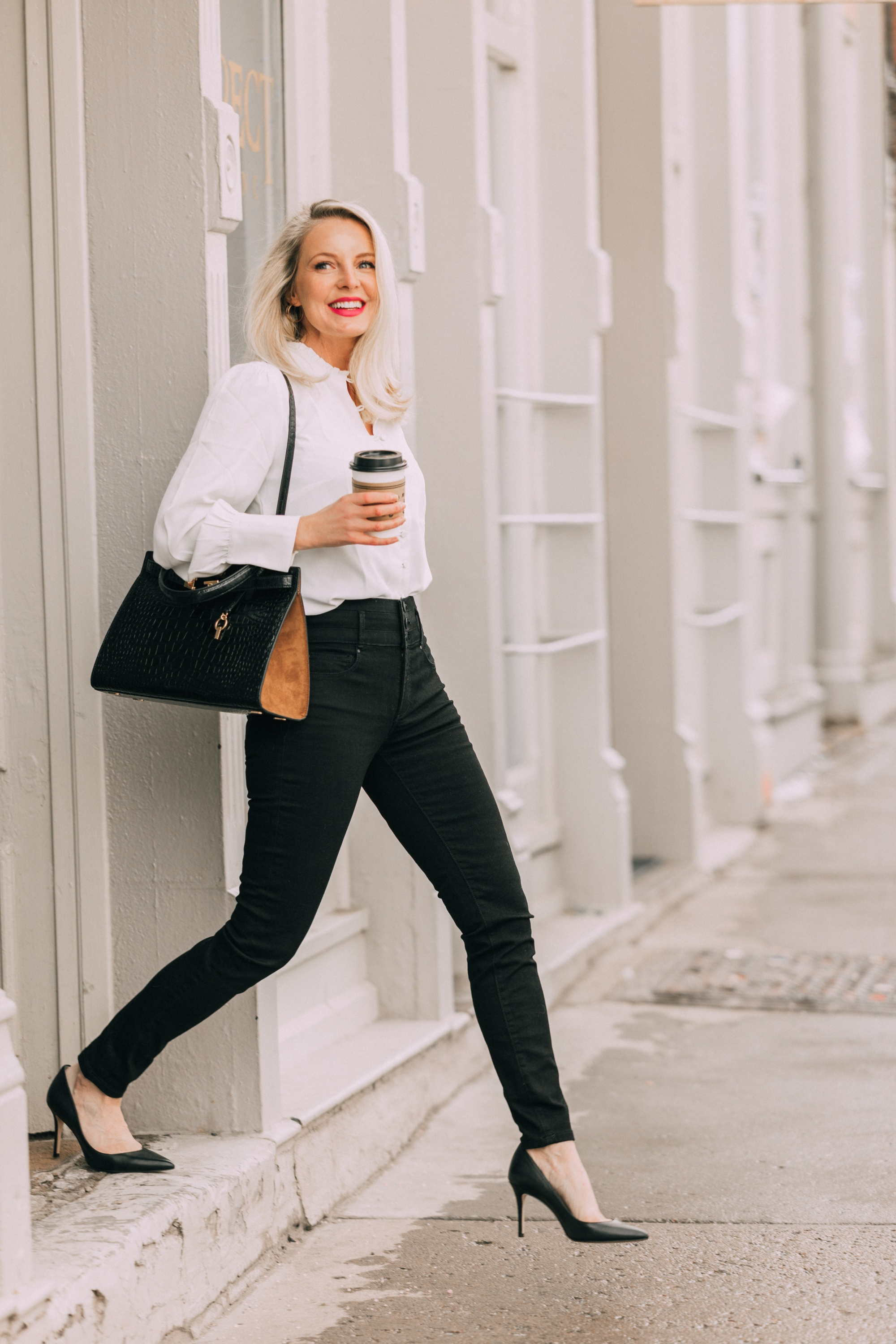 Tory Burch Lee Radziwell Bag in black croc embossed leather with brown on fashion blogger over 40 Erin Busbee of busbee Style, bags you should own