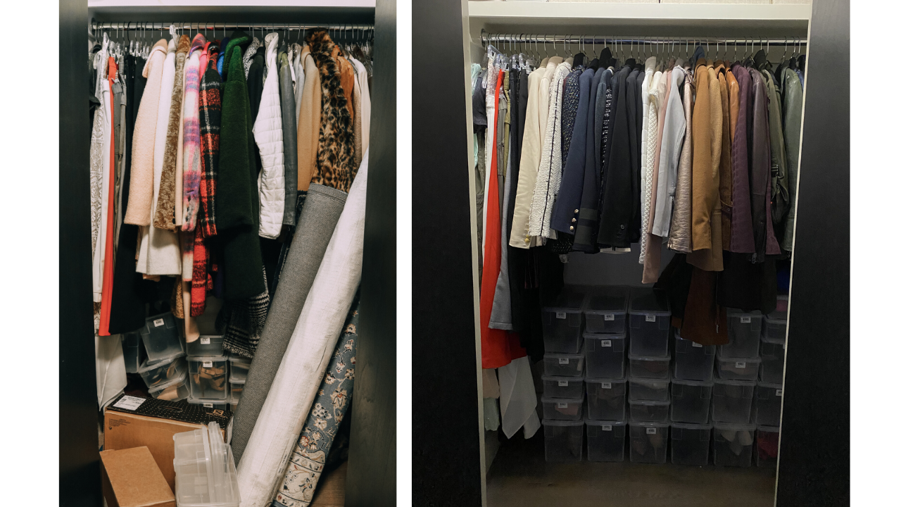 How To Edit Your Closet, Fashion blogger Erin Busbee of BusbeeStyle.com sharing her best tips for editing and purging your closet by showing some before and after photos of her organized closet in Telluride, Colorado