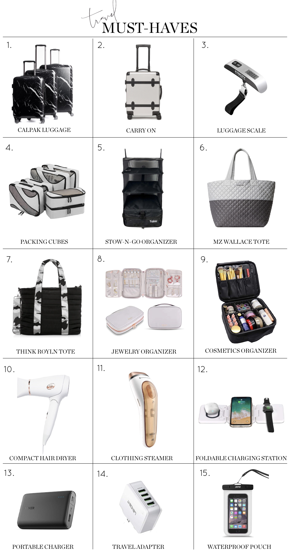 Travel Must-Haves, the best travel bags and accessories Calpak luggage, packing cubes, chargers, toiletry dop kits