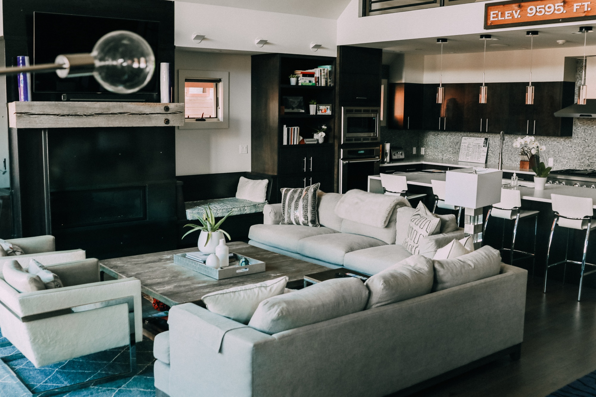 family living room House Tour modern mountain townhome Telluride Colorado