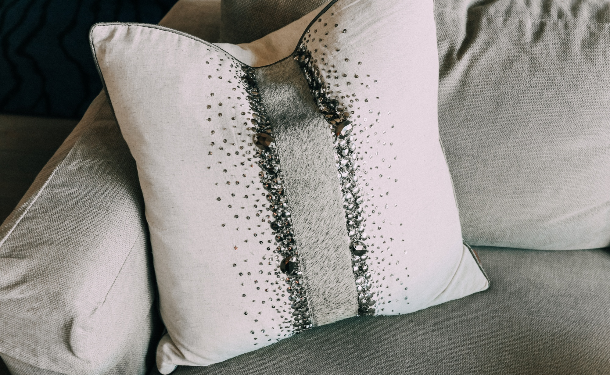 sequin throw pillow on couch House Tour modern mountain townhome Telluride Colorado