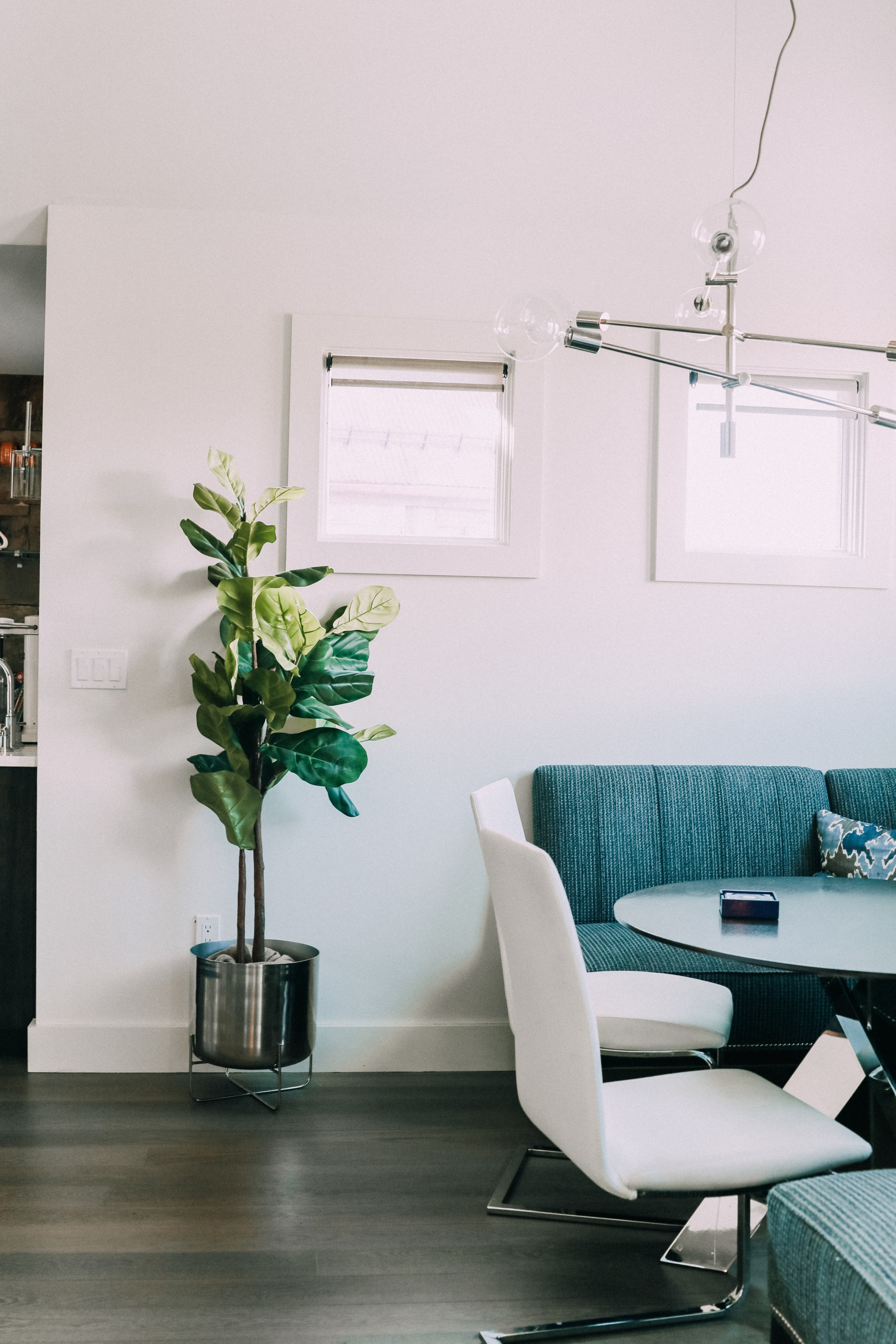faux fiddle leaf fig tree and silver midcentury pot from west elm