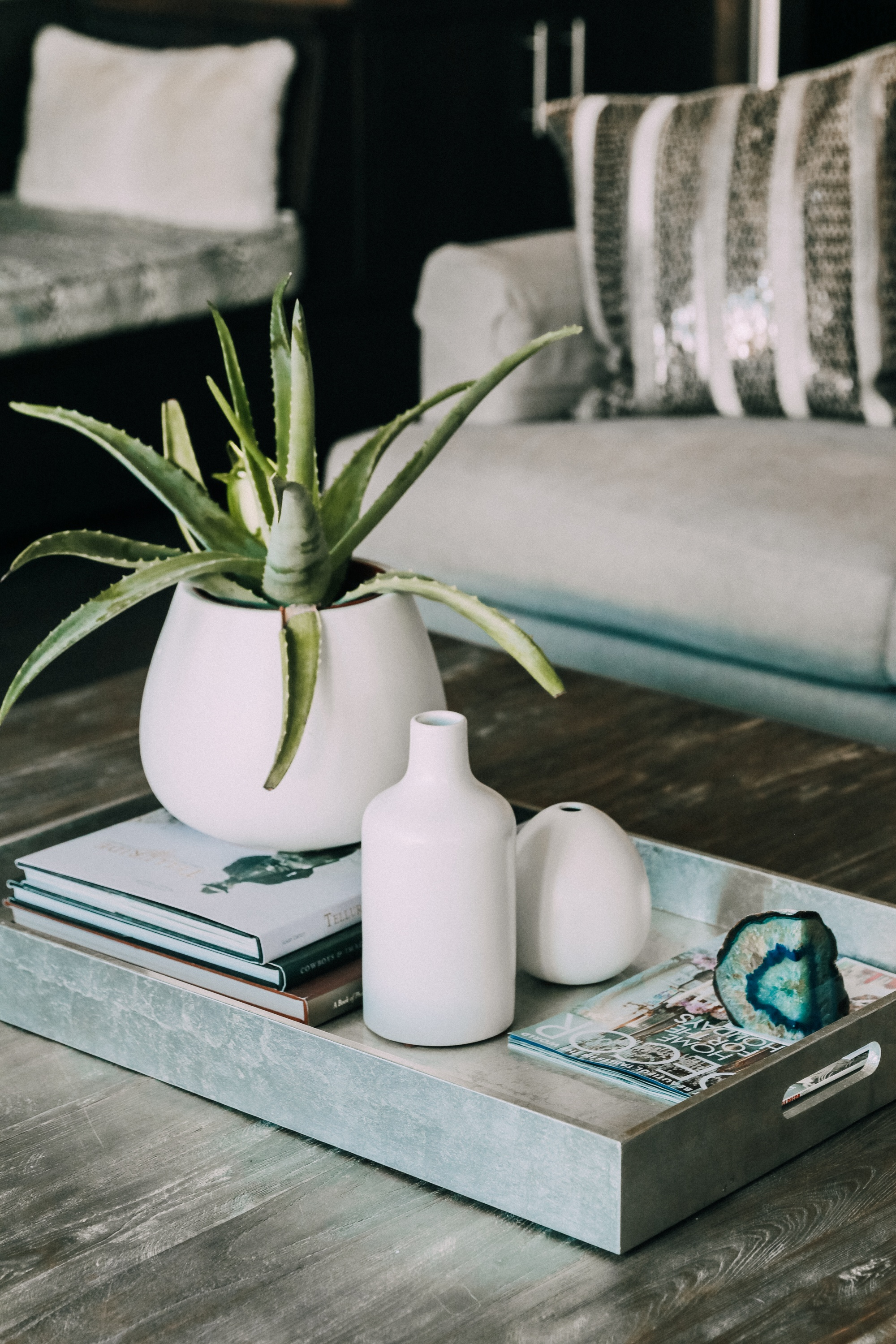 coffee table decor in family room House Tour modern mountain townhome Telluride Colorado