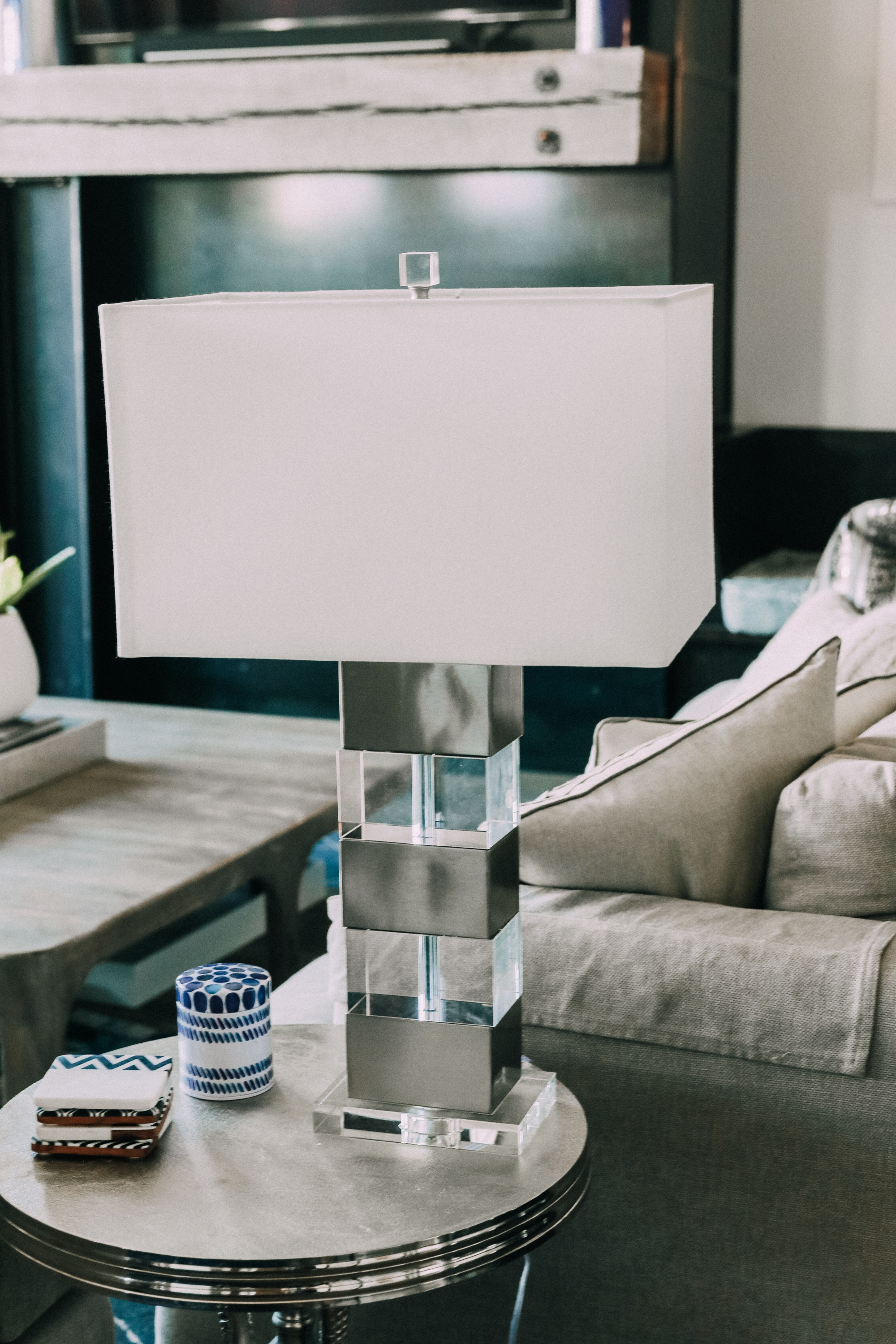 modern lamp on side table House Tour modern mountain townhome Telluride Colorado