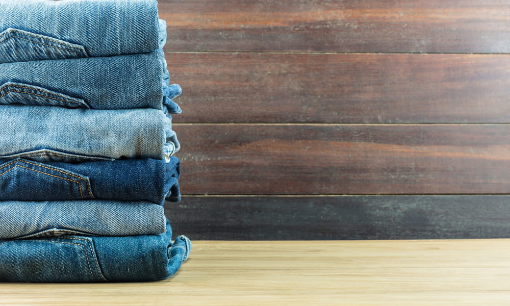 how to fold and organize jeans denim