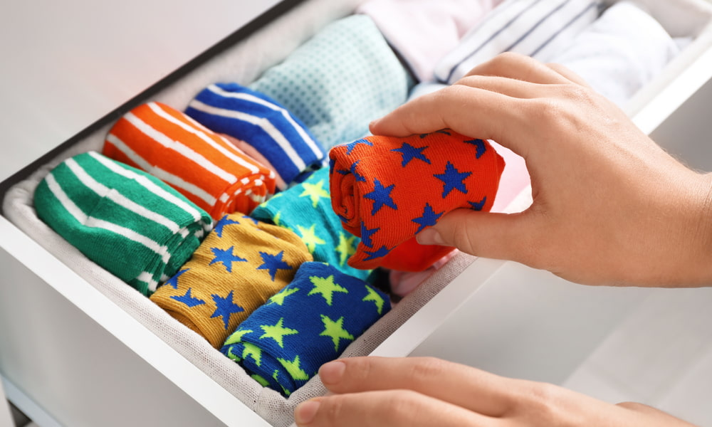 how to organize socks and shapewear drawer