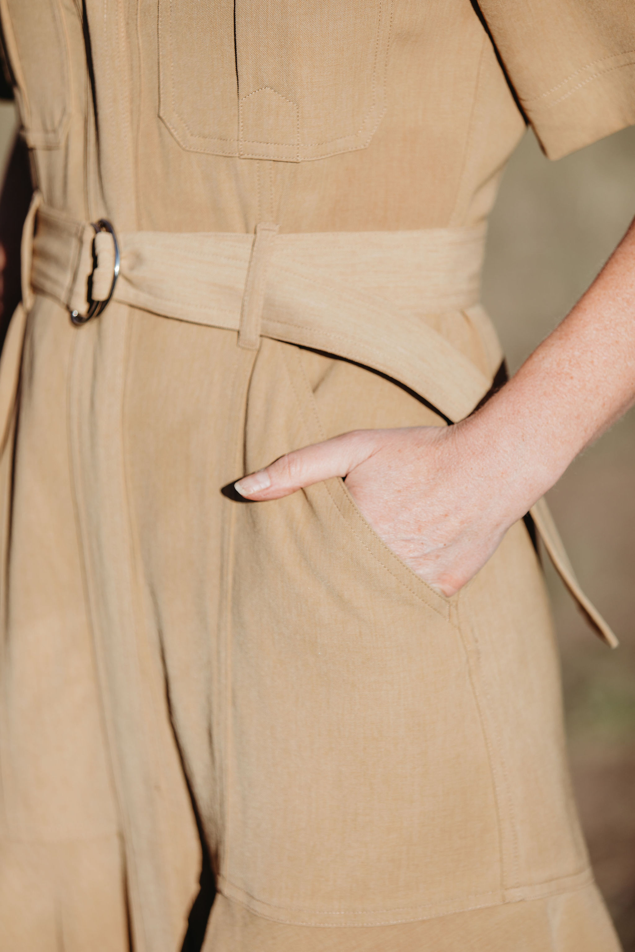 tan ALC belted shirtdress for africa safari outfit