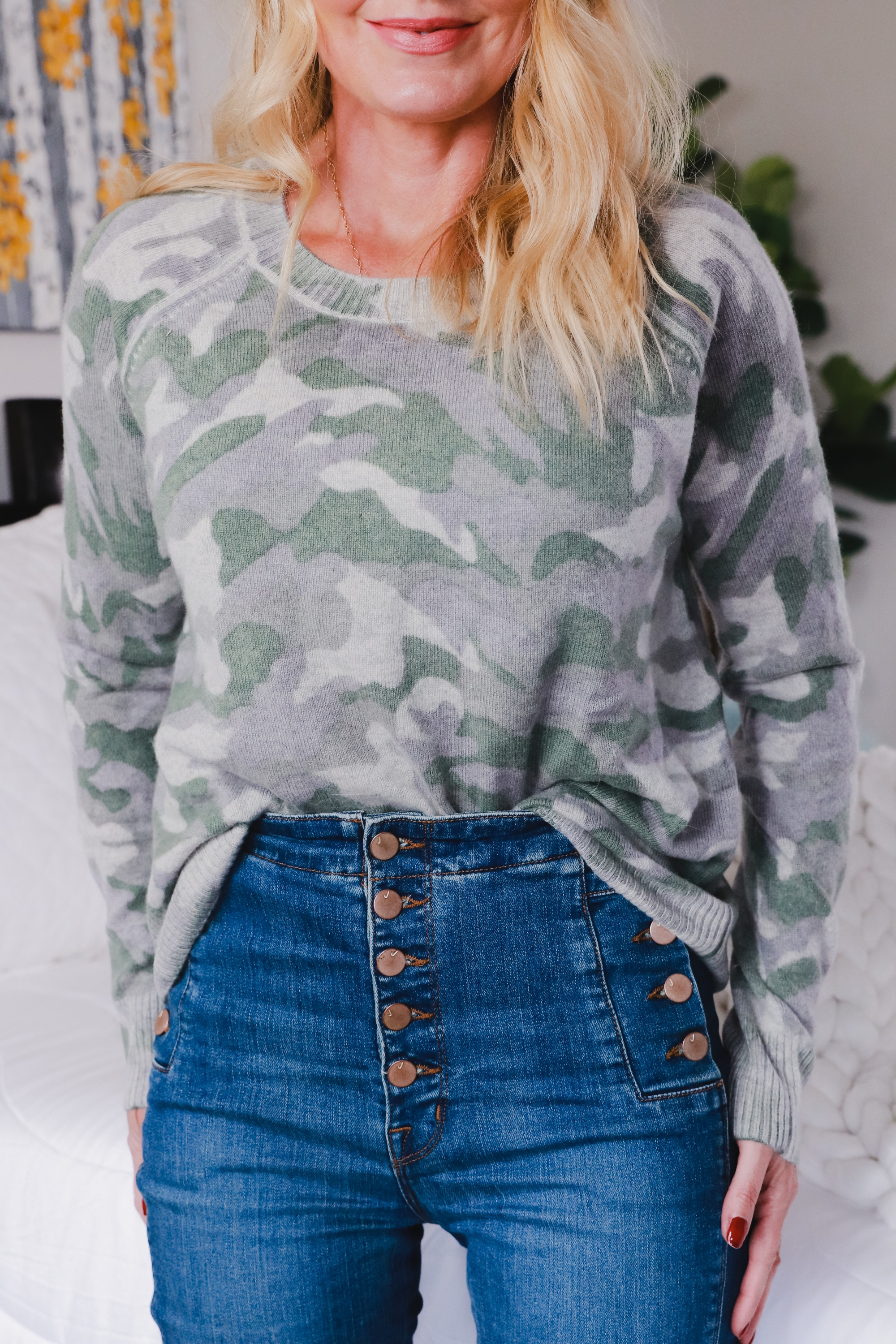 affordable women's cashmere sweaters, Aqua Cashmere Sweater, fashion blogger Busbee Style wearing green camo cashmere sweater with J Brand Natasha jeans