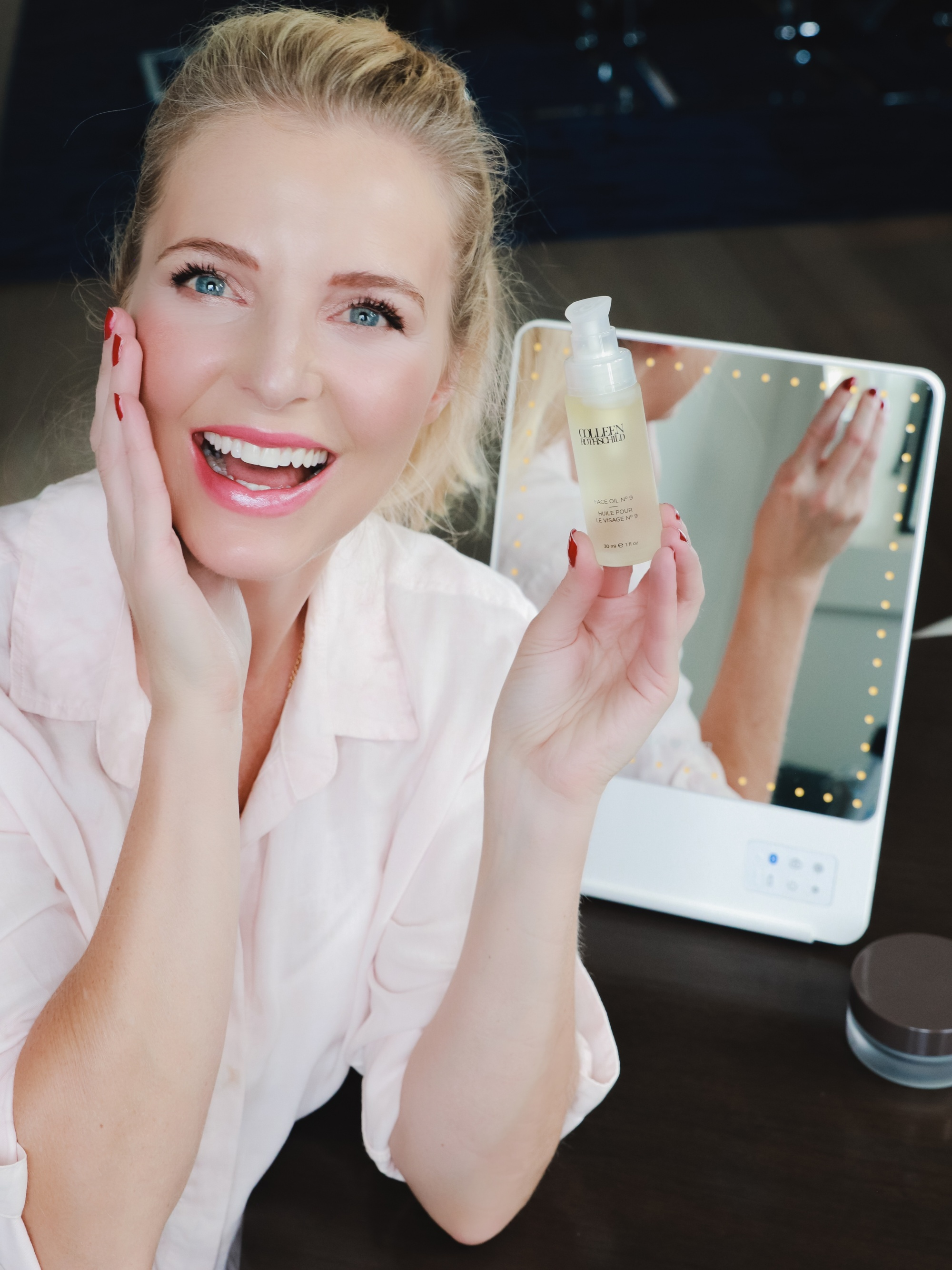 Favorite Skincare Brand, Erin Busbee of Busbee Style using the Colleen Rothschild Face Oil No. 9 in her home in Telluride Colorado
