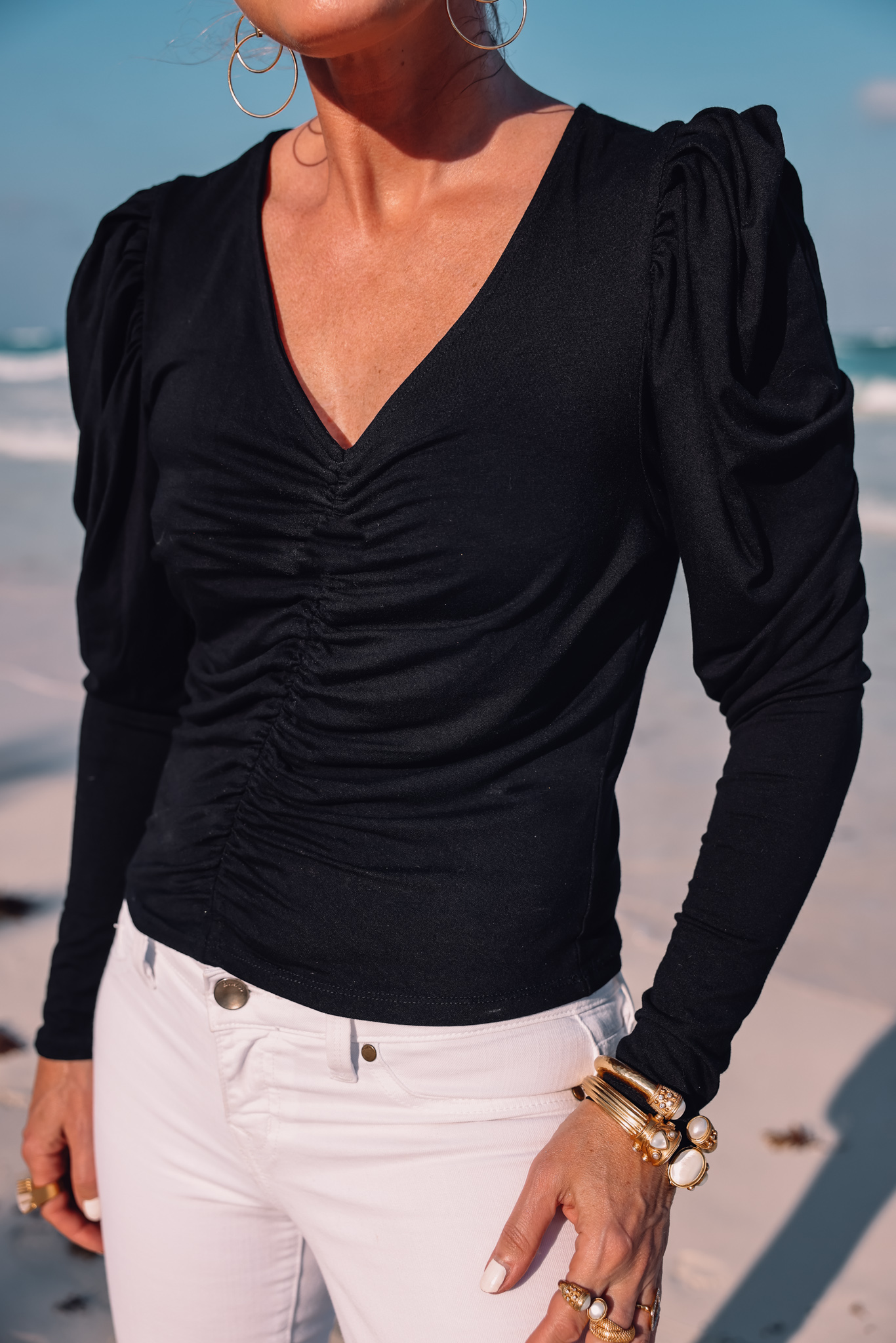 blouses that cover arms, ruched frame top, puff sleeve frame top, tops for summer, lightweight tops for summer