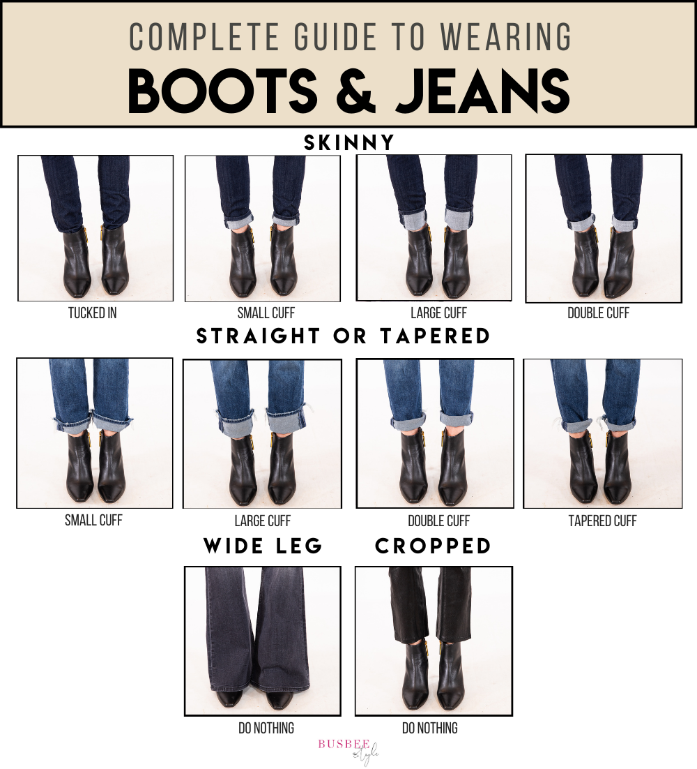 guide to wearing boots and jeans, how to wear ankle booties with skinny jeans, tucked in jeans including how to wear boots with skinny jeans, straight jeans, tapered jeans, cropped jeans, and wide leg jeans