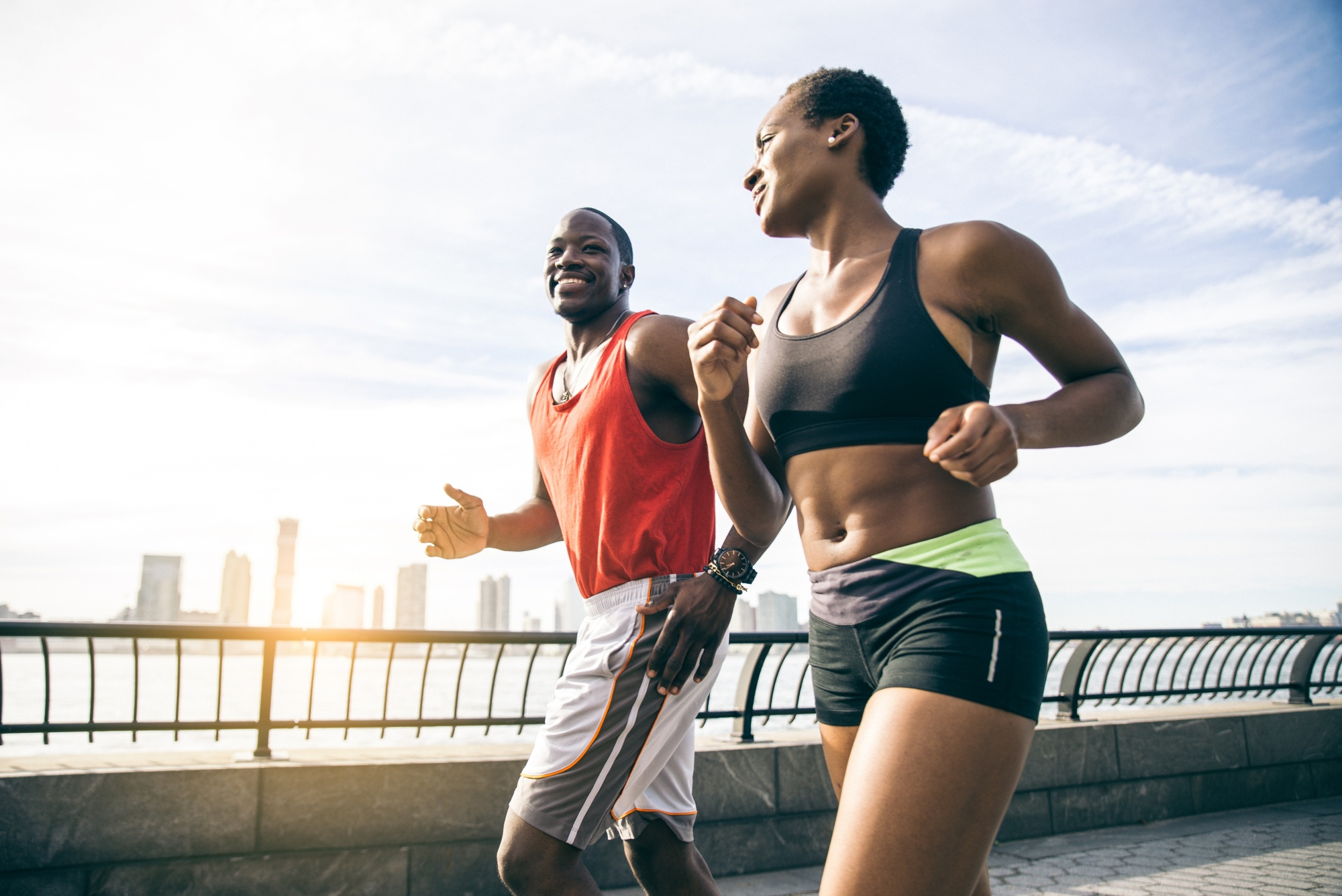 make time together, african american couple running together