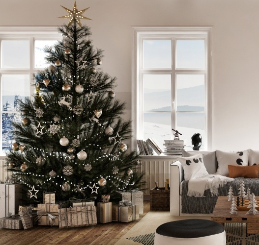 The Best Way To Get Organized Before Holiday Chaos Ensues by getting help to ensure your decorations and baking are done in time for you to enjoy. Shows a peaceful and organized room decorated for Christmas.