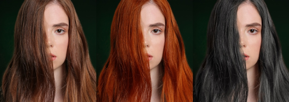 hair color change including models with brown red and black hair colorhair color