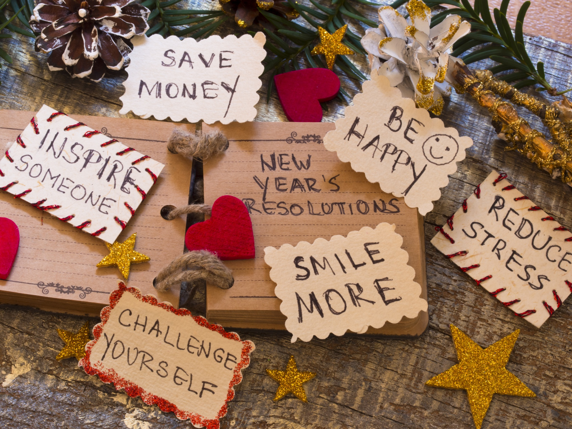 New Year's Resolutions, Rustic journal with New Year's Resolutions on tags surrounded by decroations