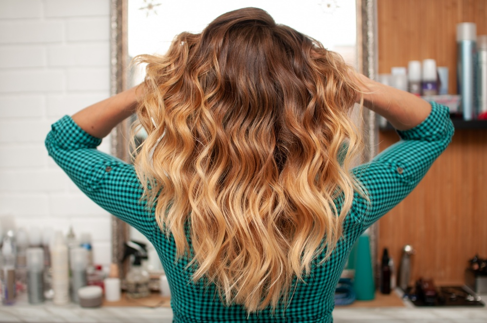 Hair color change, ombre hair technique with a more defined highlight and demarcation
