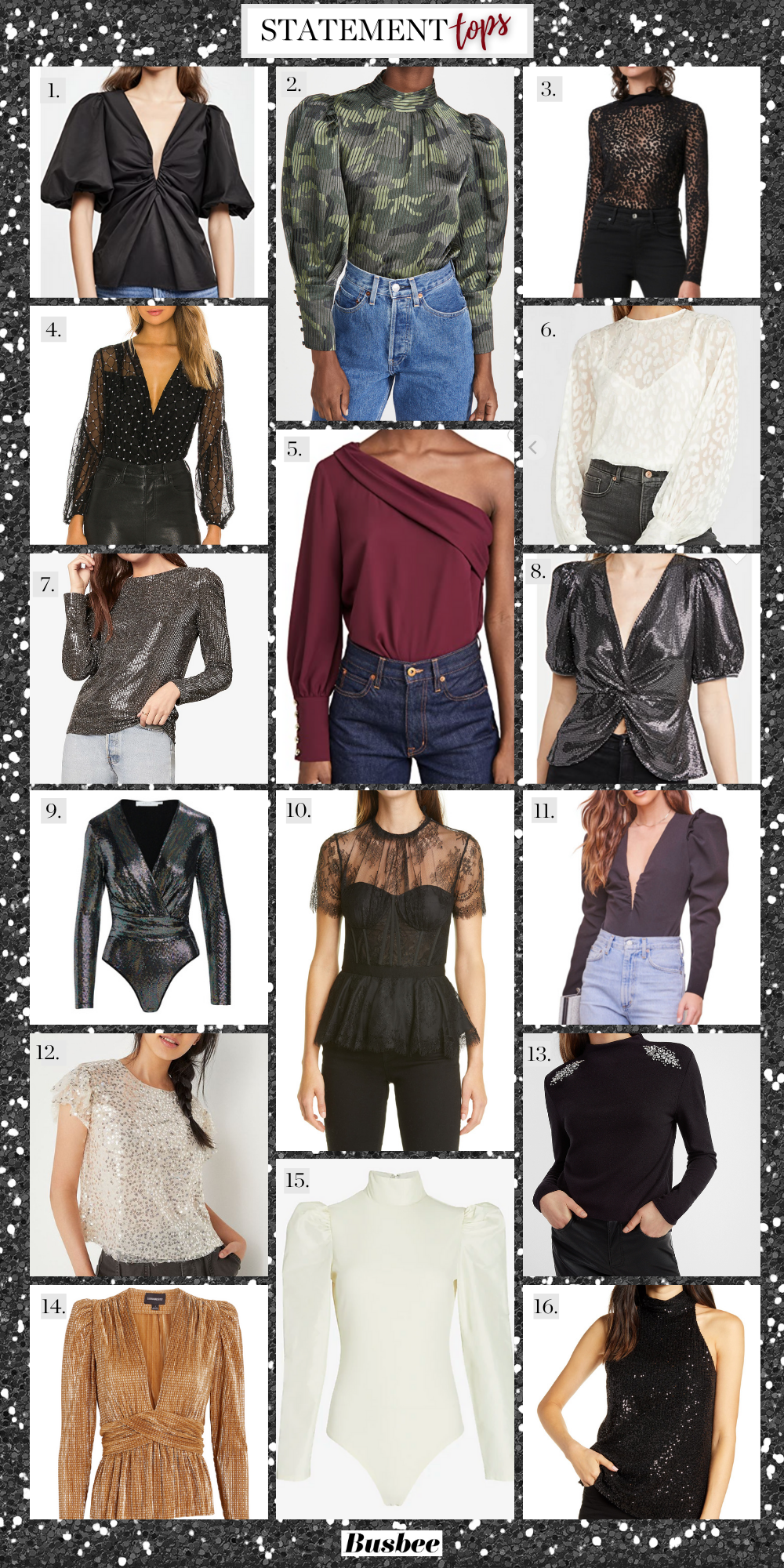 Statement Tops, Erin Busbee of Busbee Style sharing festive statement tops for the holidays including bodysuits and tops by Amanda Uprichard, Express, and more