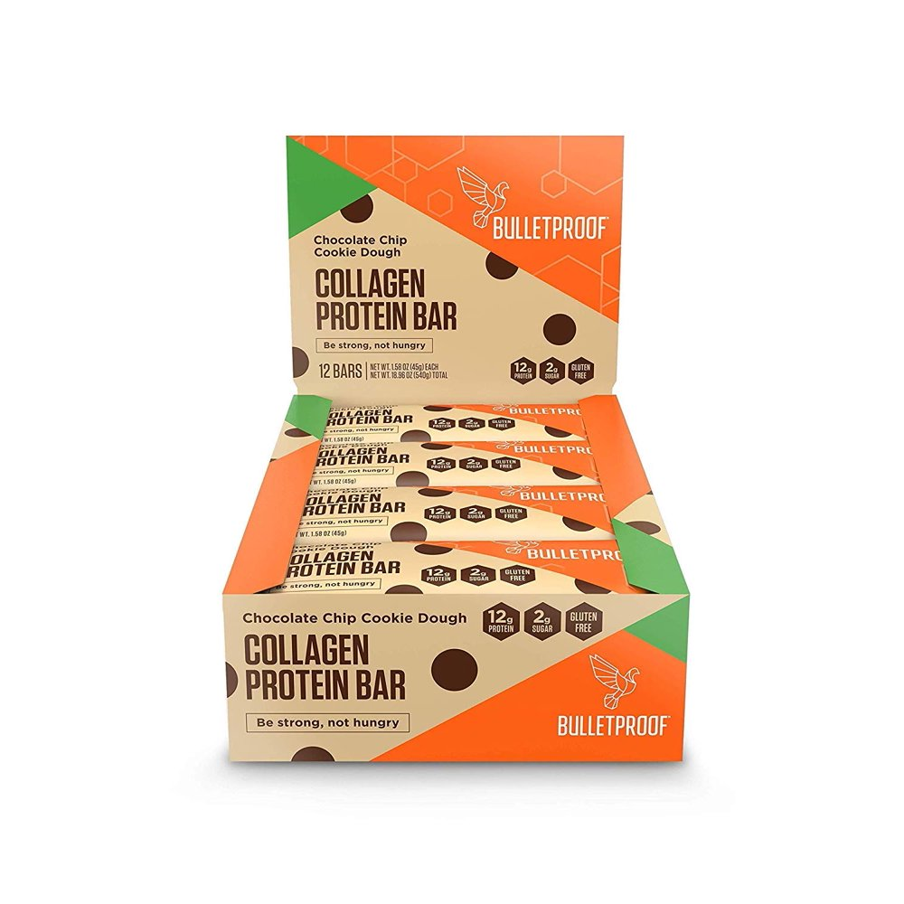 combat menopause on the go, Bulletproof collagen protein bars, chocolate chip cookie dough flavor