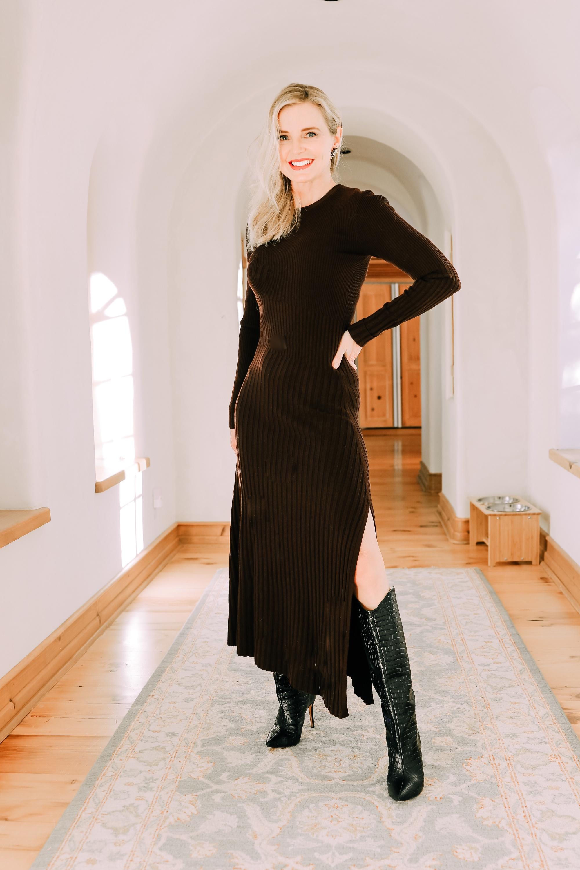 Holiday Outfit ideas that are comfy and warm featuring dark brown ALC sweater dress with Schutz black croc-embossed boots on fashion over 40 Blogger Erin Busbee